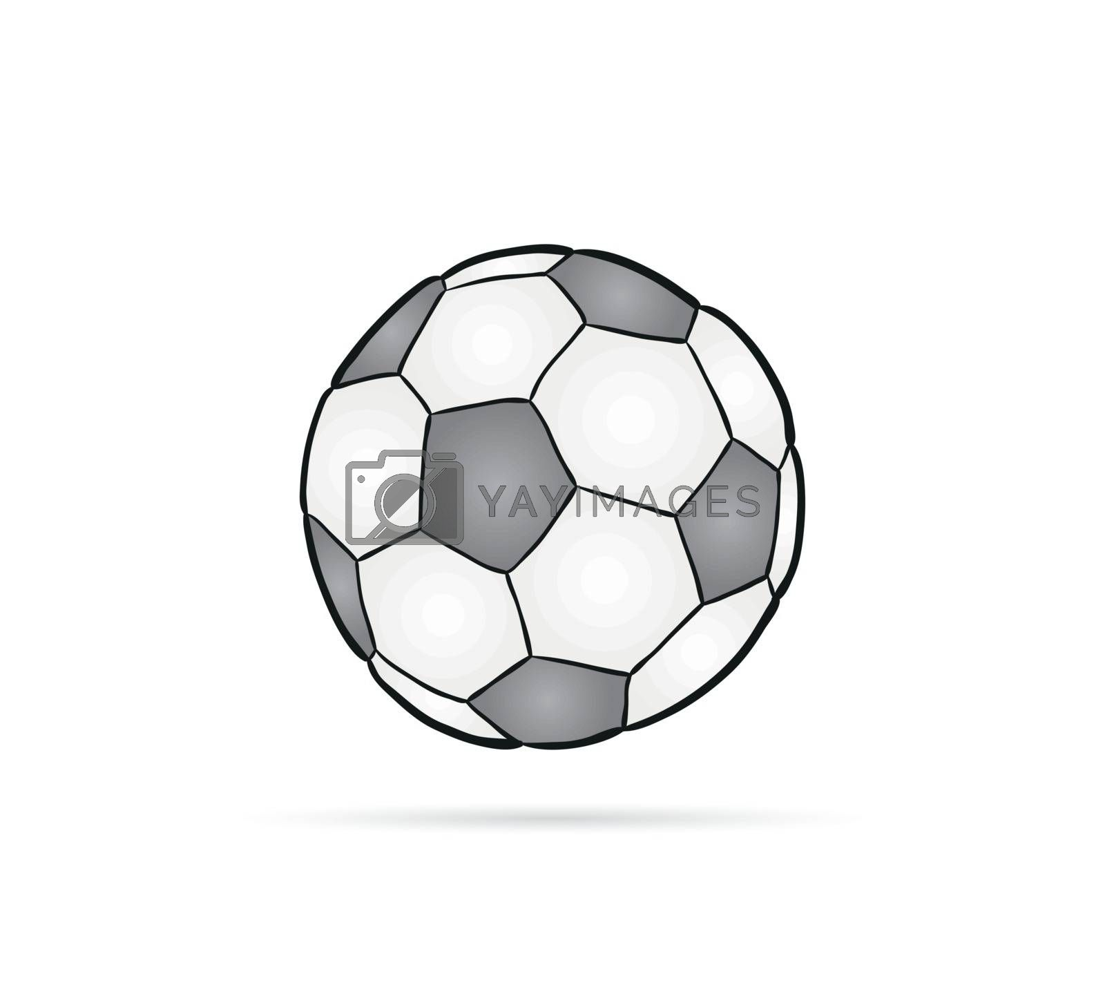 football ball and shadow on white background