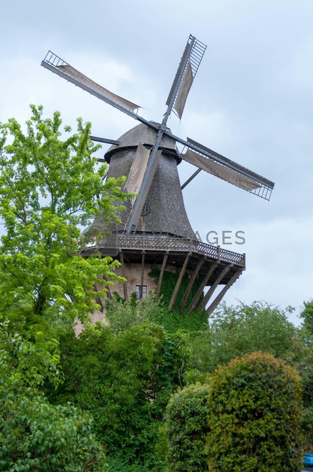 Old wooden windmill. beautiful windmill landscape.