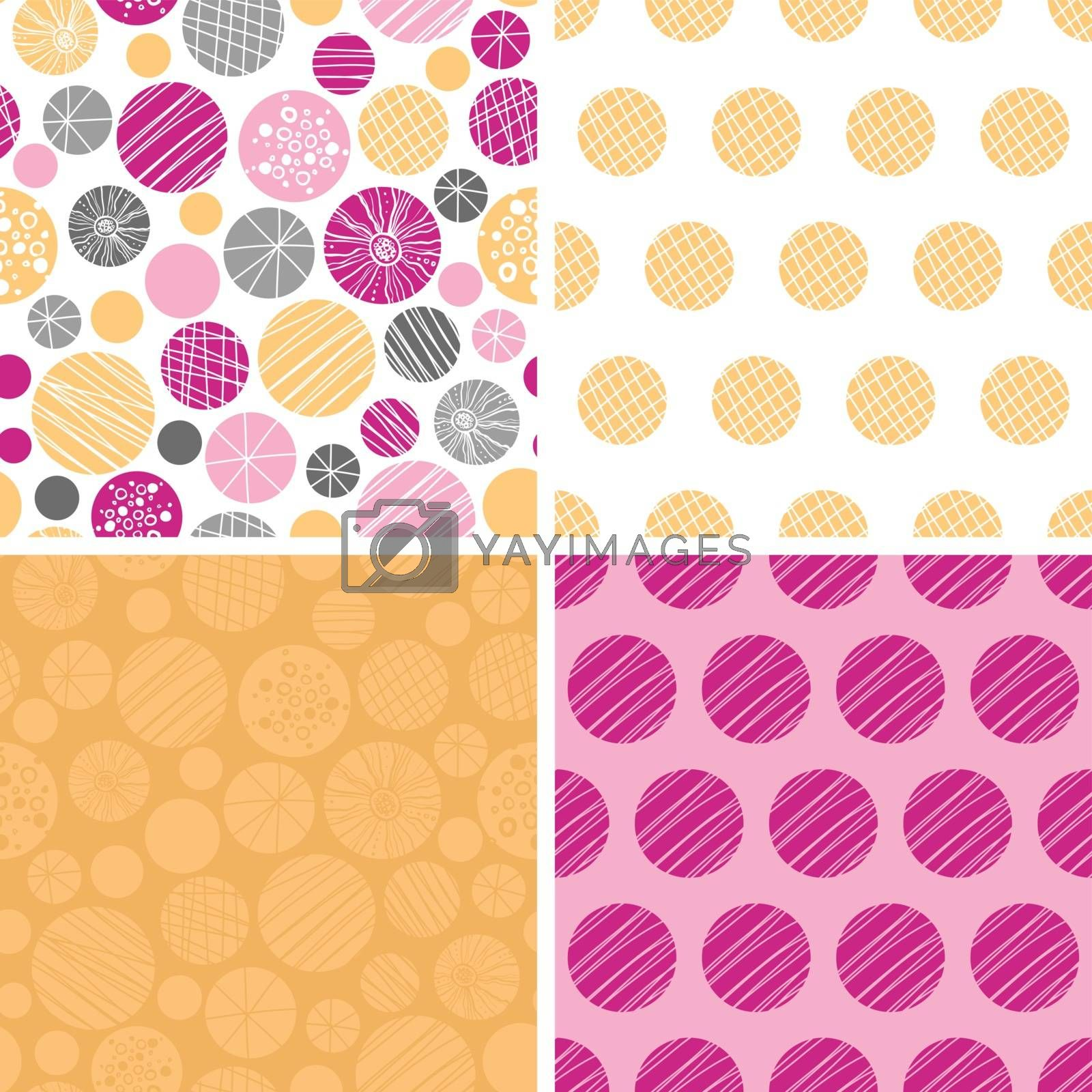 Vector abstract textured bubbles set of four marching repeating patterns backgrounds graphic design