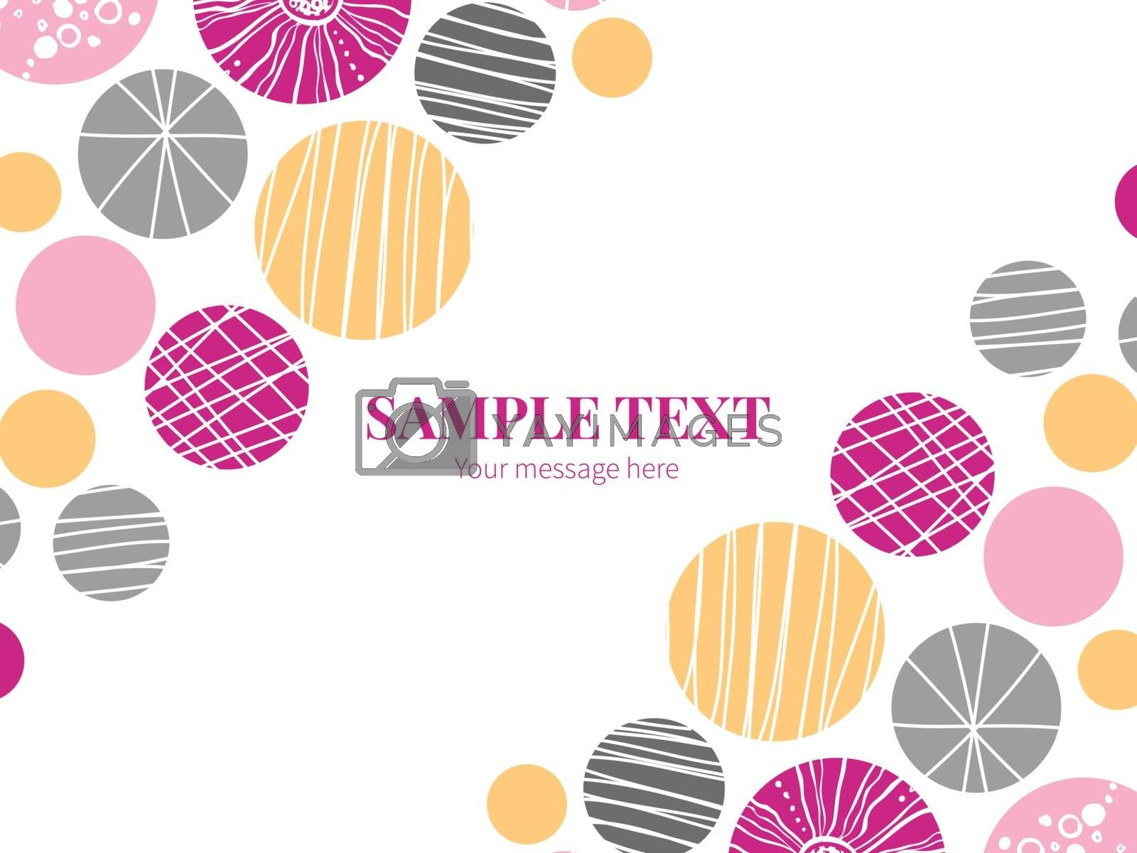 Vector abstract textured bubbles horizontal double corners frame invitation template graphic design