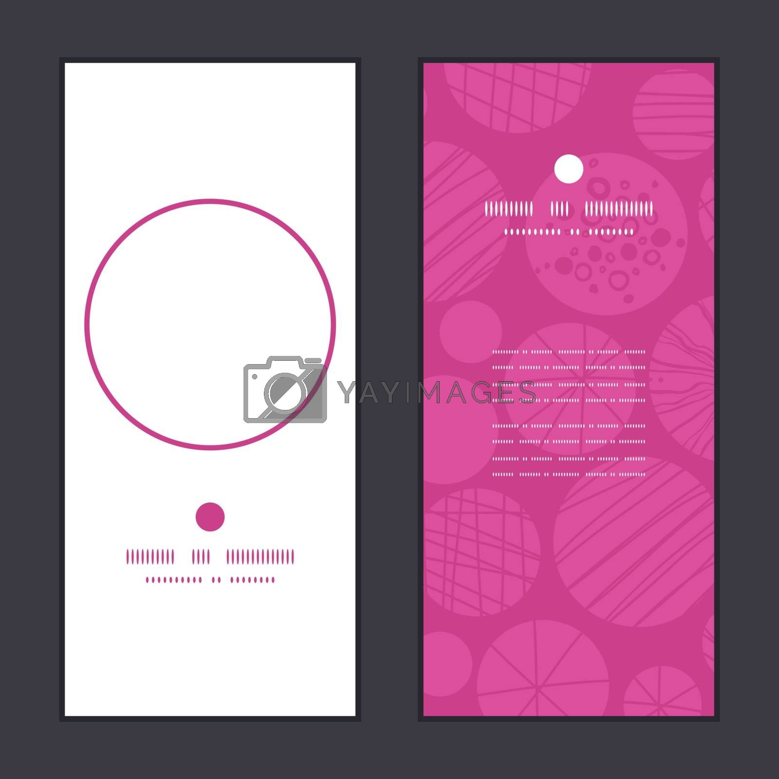 Vector abstract textured bubbles vertical round frame pattern invitation greeting cards set graphic design