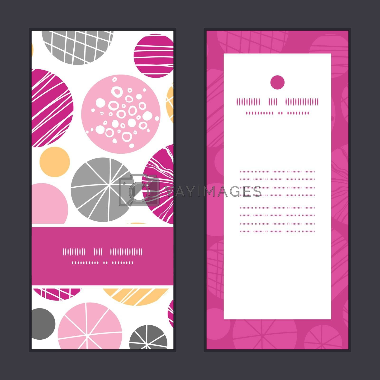 Vector abstract textured bubbles vertical frame pattern invitation greeting cards set graphic design