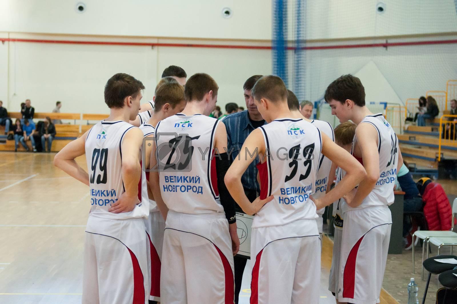 KALININGRAD - APRIL 4: Basketball competitions european youth basketball league (EYBL), 4 April, 2014 in Kaliningrad Russia.