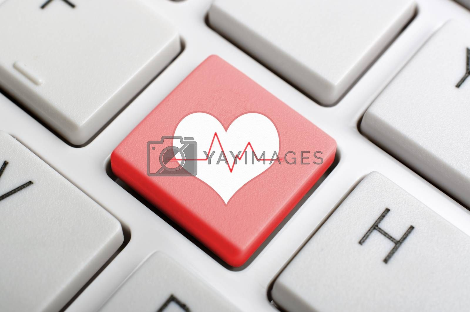 Red heart pluse key on keyboard