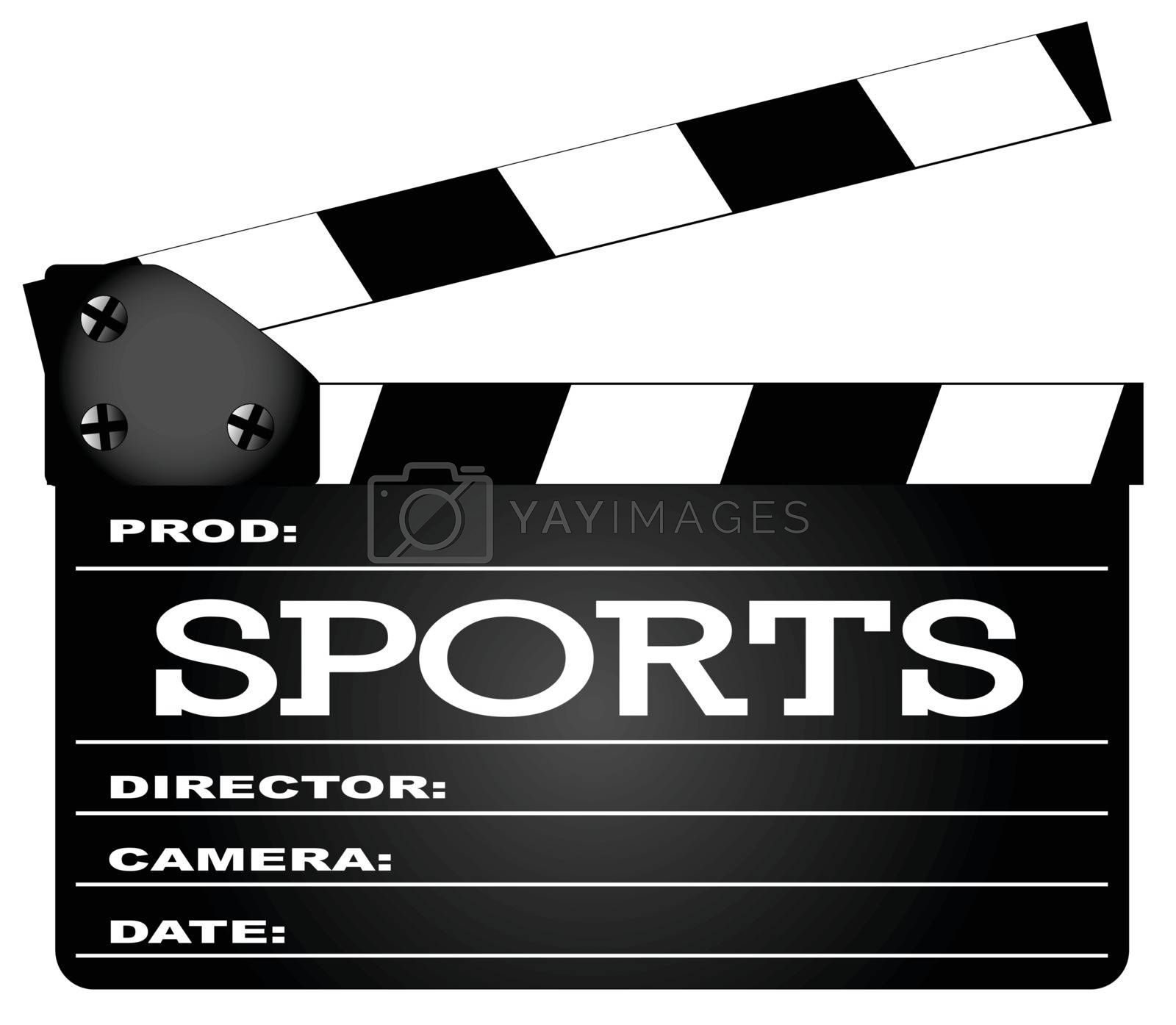 A typical movie clapperboard with the legend Sports isolated on white.