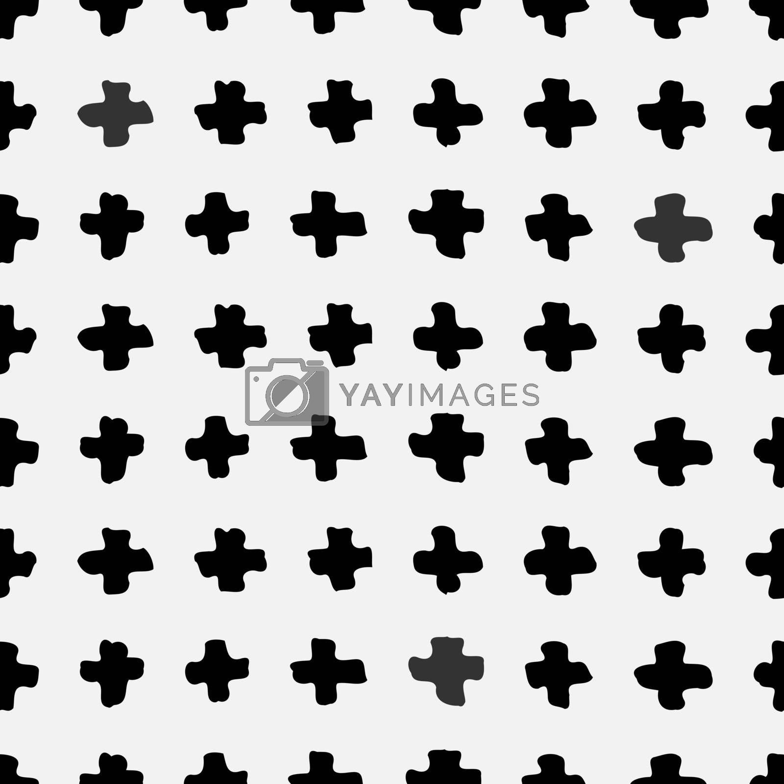 Hand drawn abstract seamless repeat pattern with cross shapes in black and white.