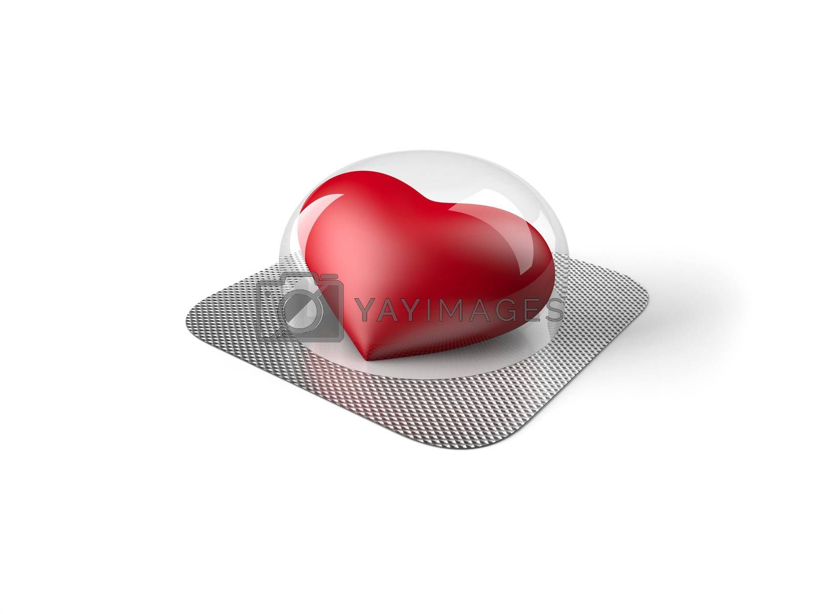 Red heart pill in blister isolated on white