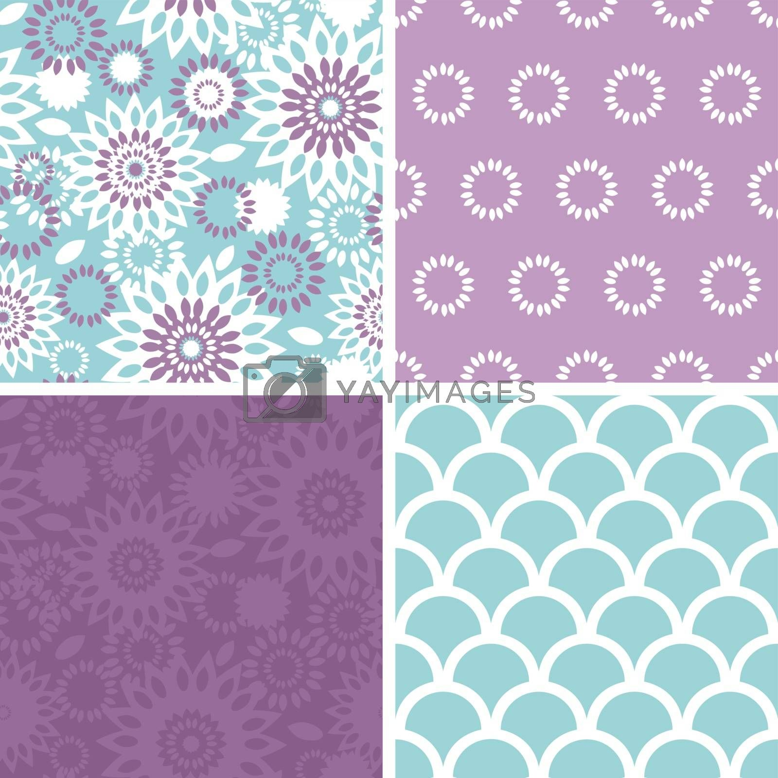 Vector purple and blue floral abstract set of four matching repeat patterns backgrounds graphic design