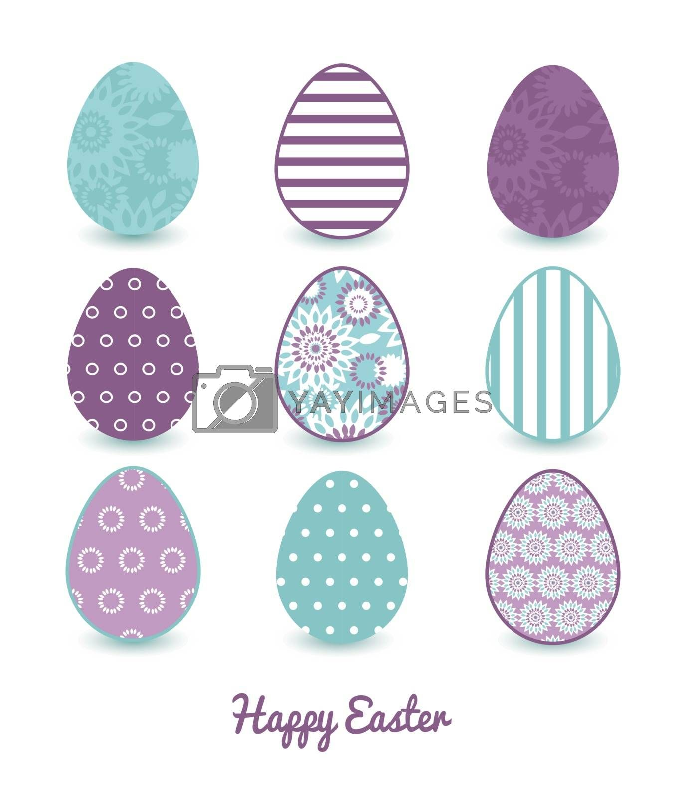 Vector purple and blue floral abstract set of nine colorful Easter eggs card template graphic design