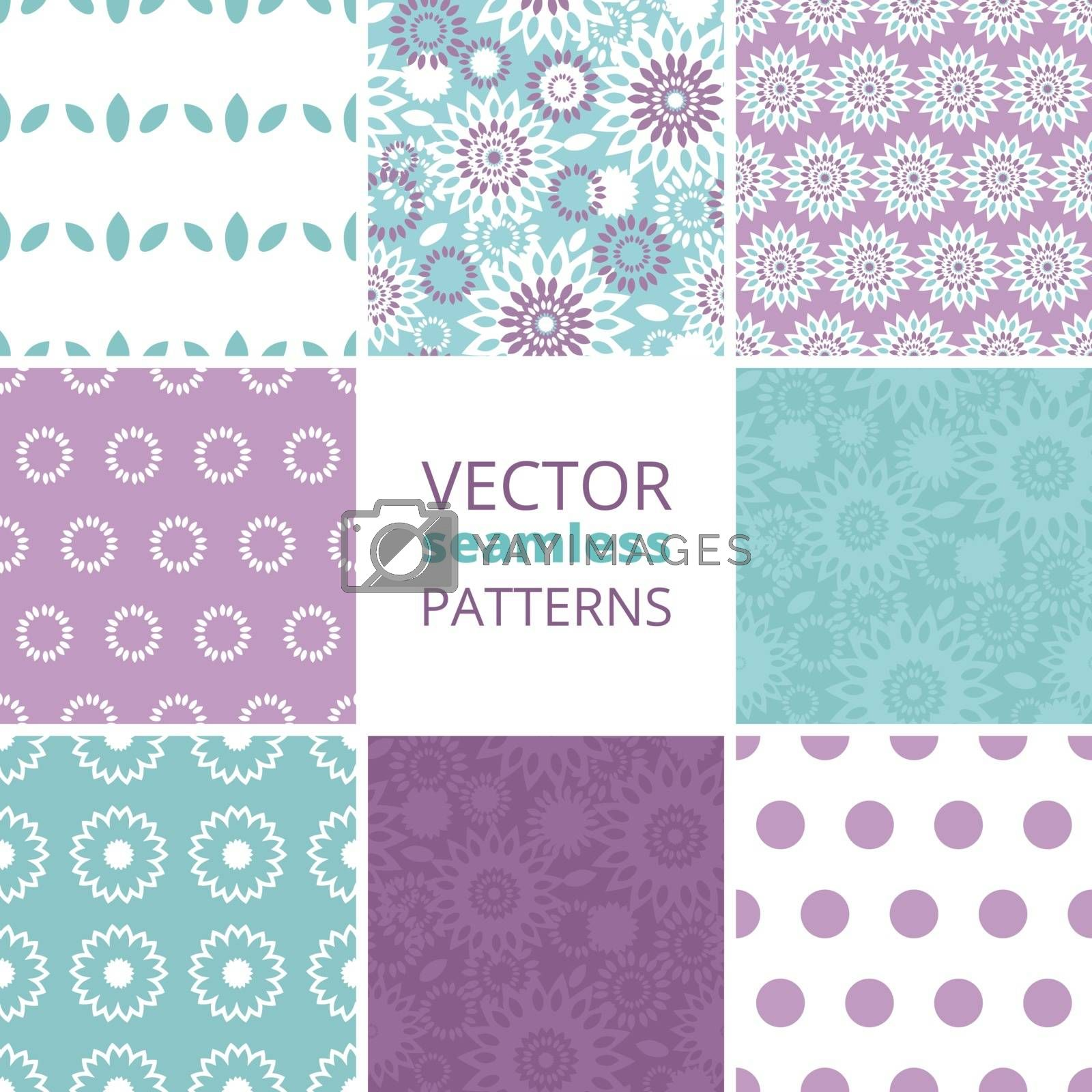 Vector purple and blue floral abstract set of eight matching repeating seamless patterns backgrounds graphic design