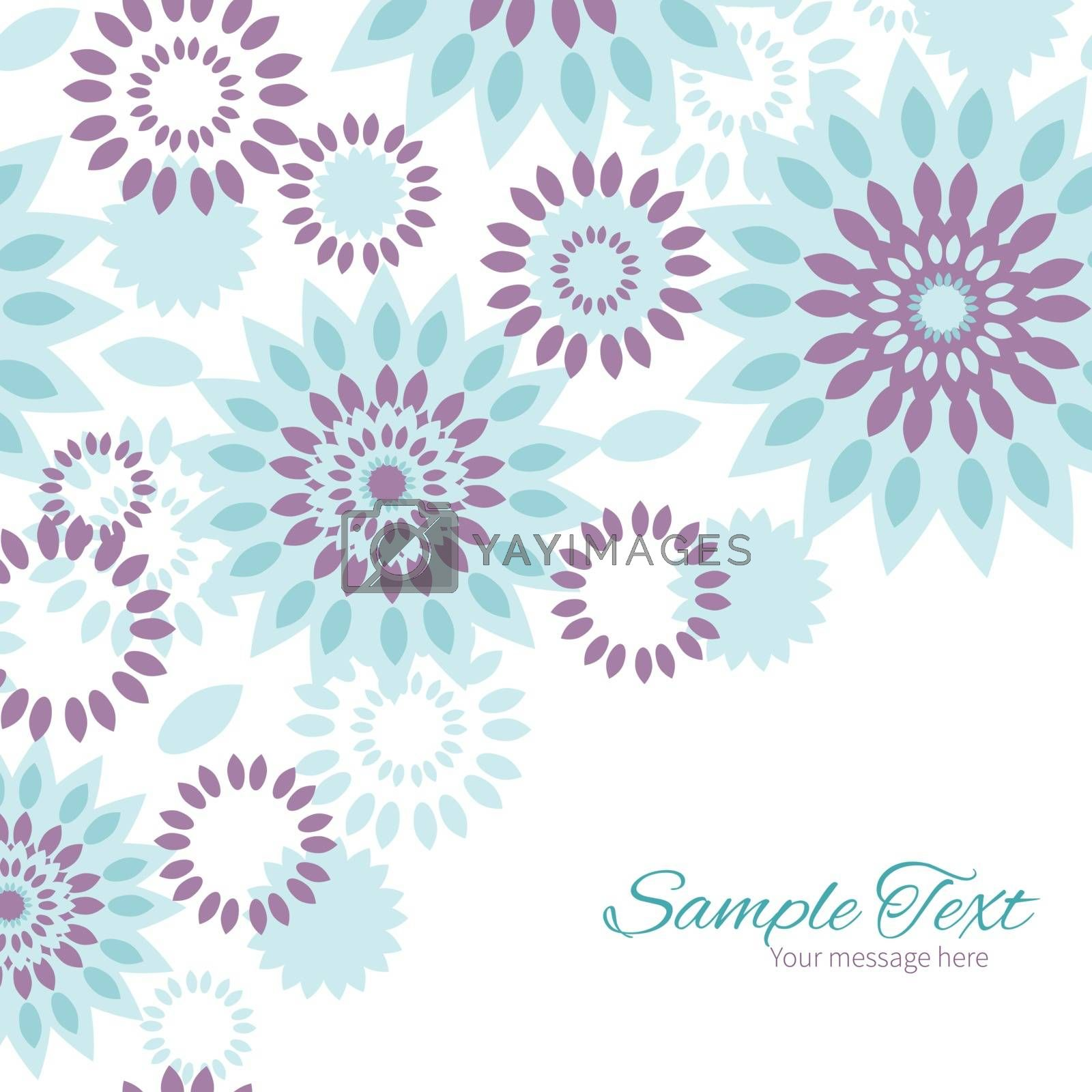 Vector purple and blue floral abstract frame corner pattern background graphic design