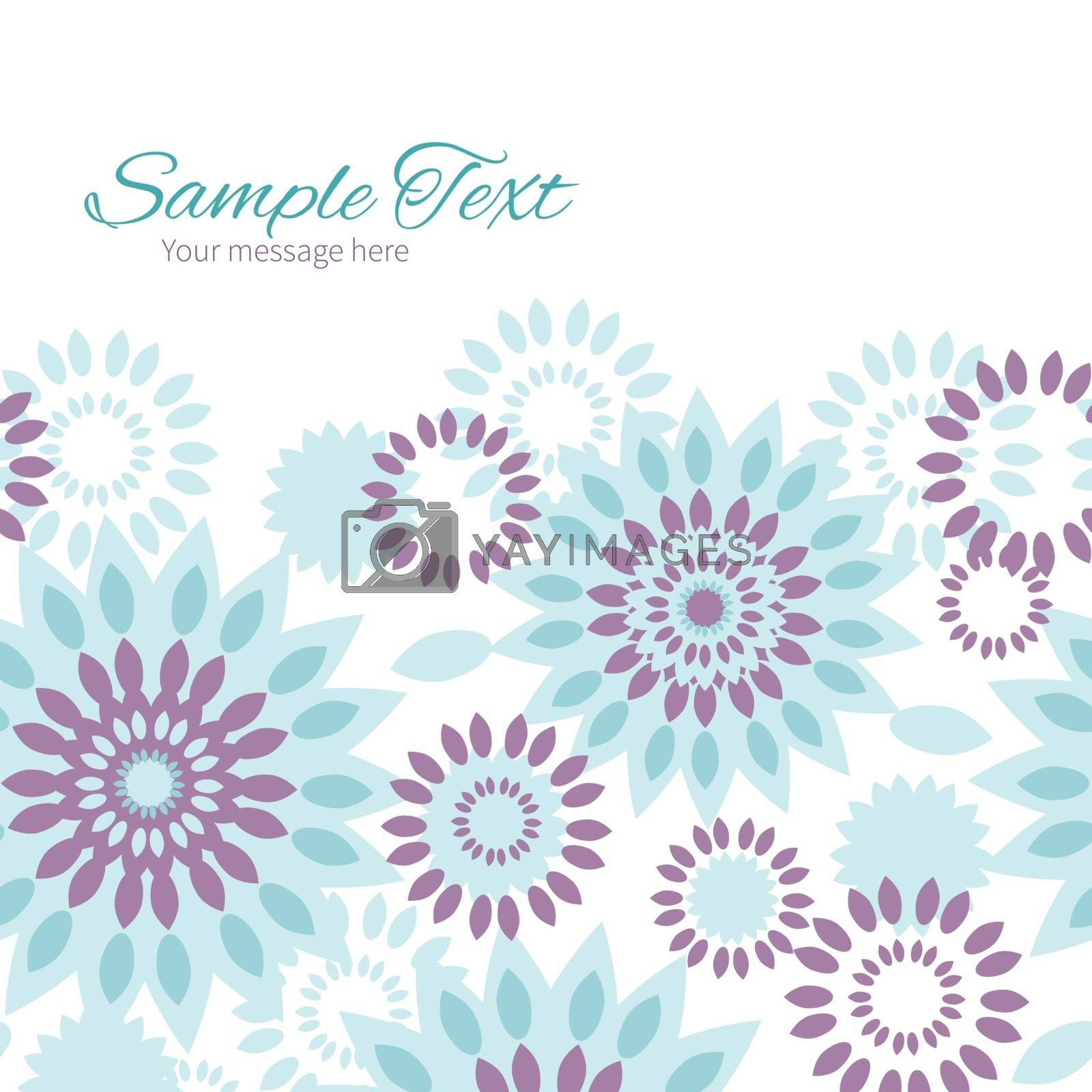 Vector purple and blue floral abstract horizontal frame seamless pattern background graphic design