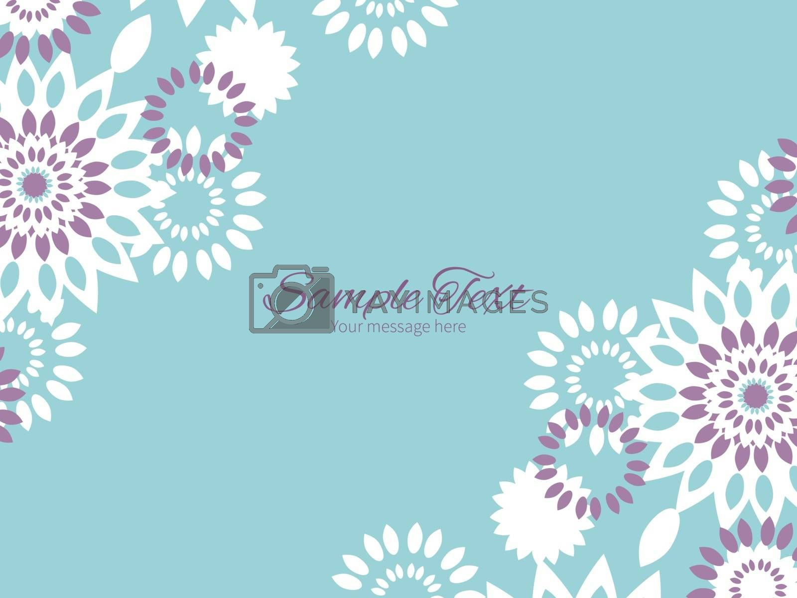 Vector purple and blue floral abstract horizontal double corners frame invitation template graphic design