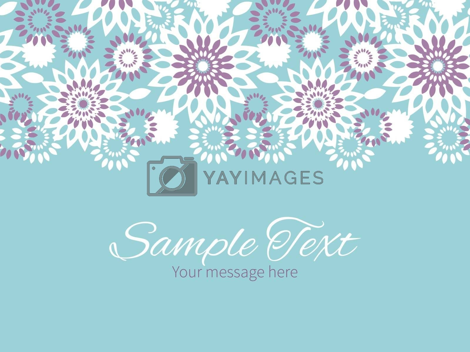 Vector purple and blue floral abstract horizontal border greeting card invitation template graphic design