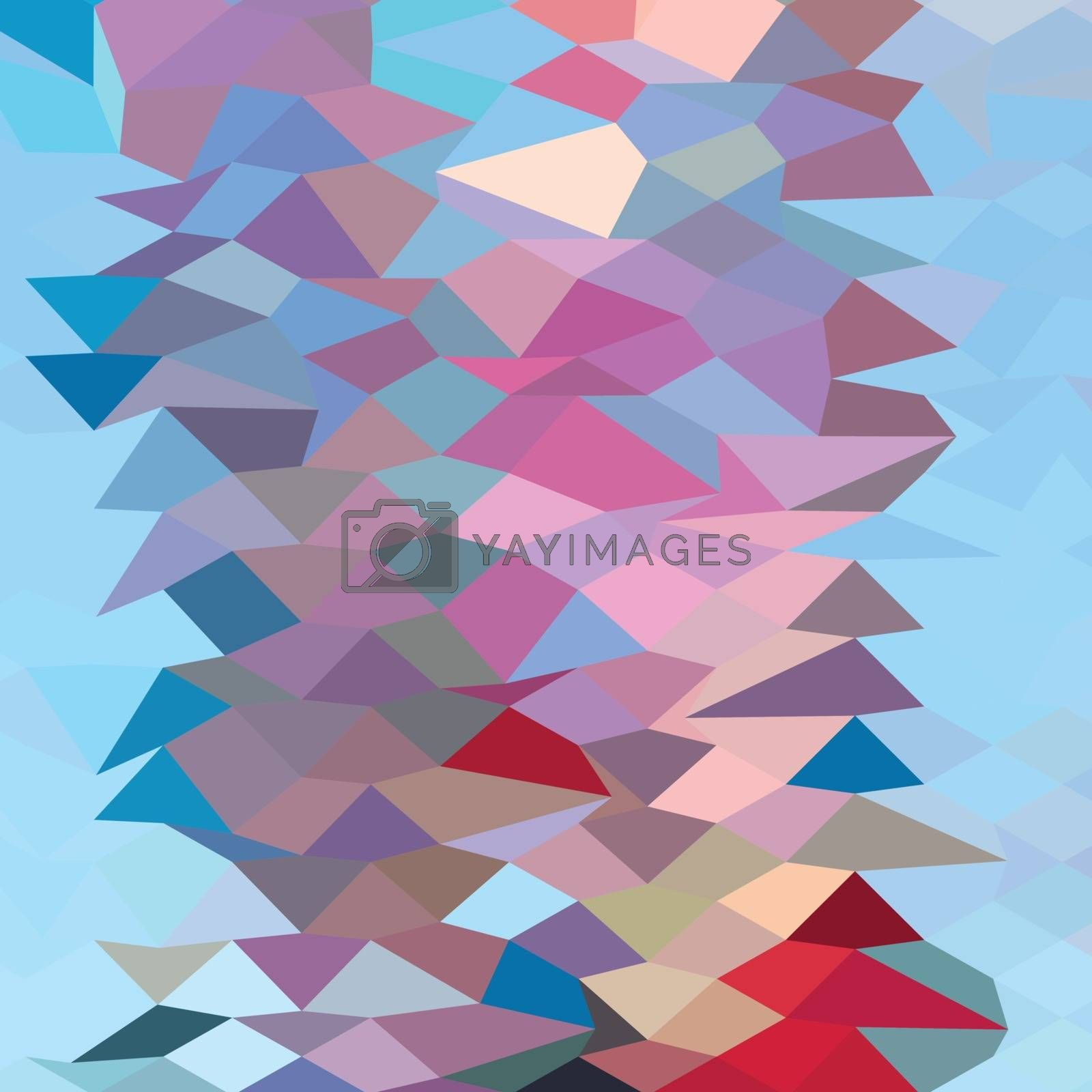 Low polygon style illustration of a aqua ruby red abstract background.