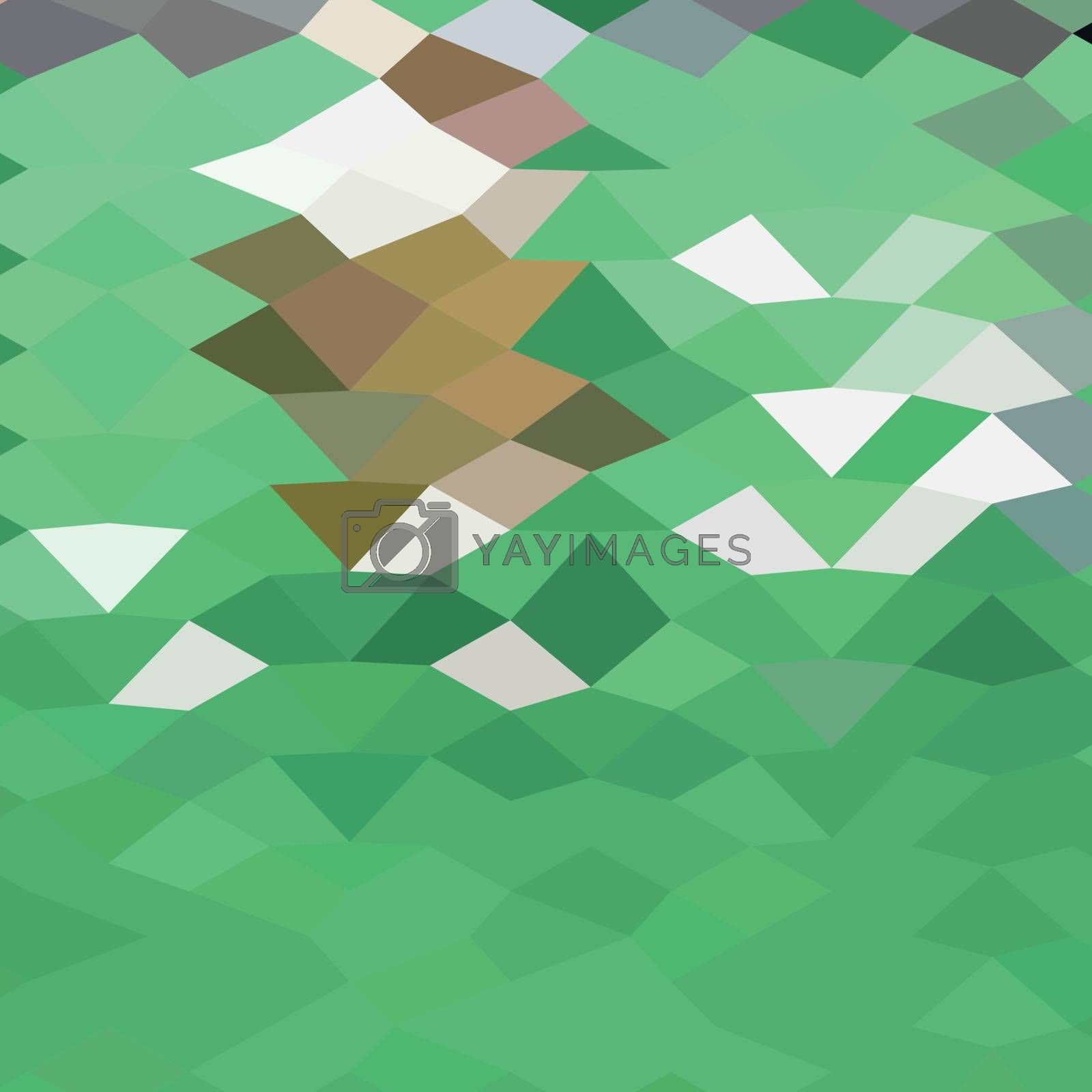Low polygon style illustration of emerald green abstract background.