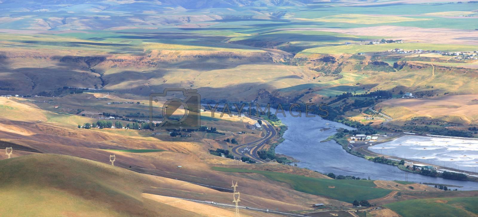 Panoramic view of Snake river near Leviston Idaho