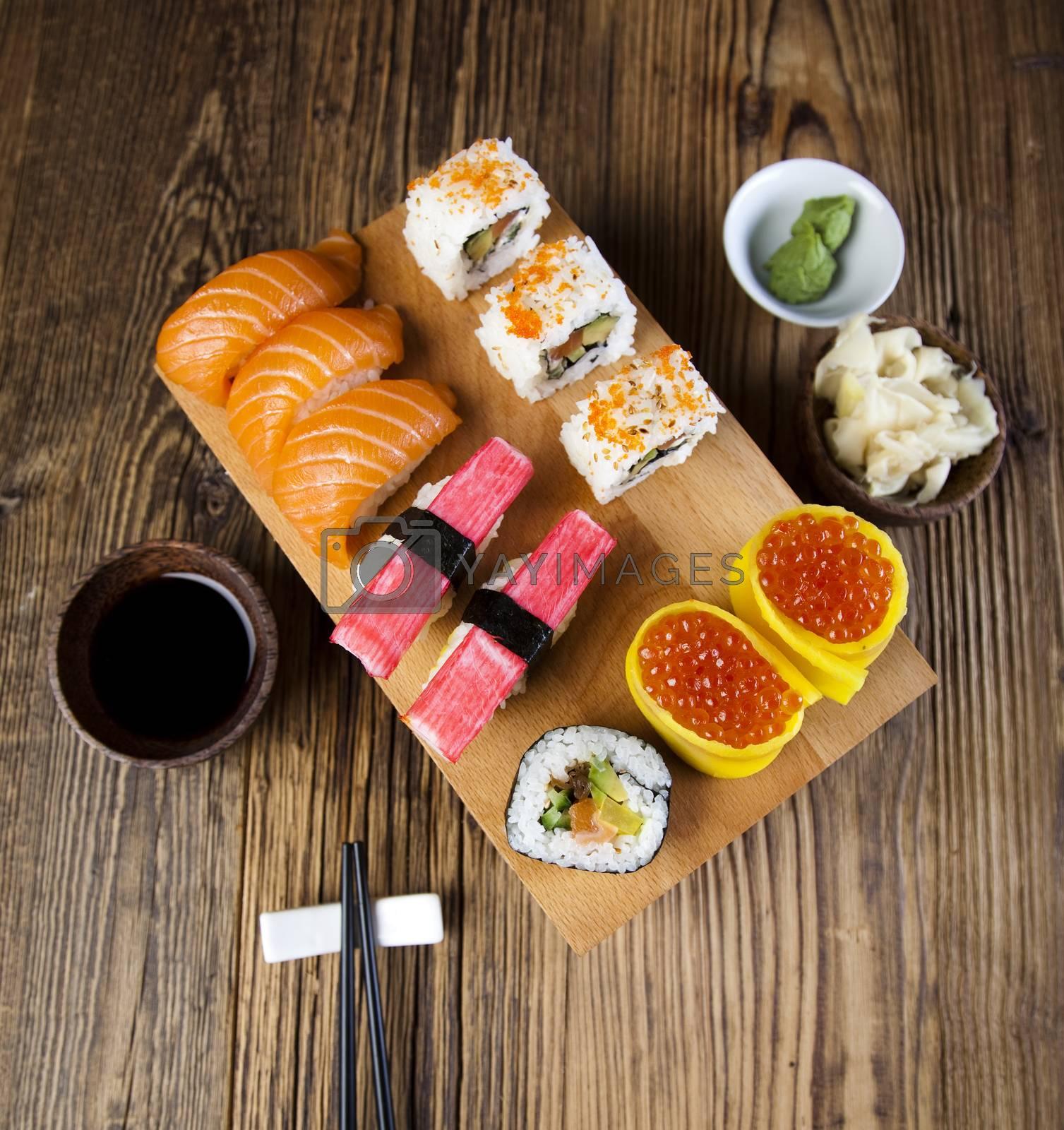 Set of sushi, oriental cuisine colorful theme