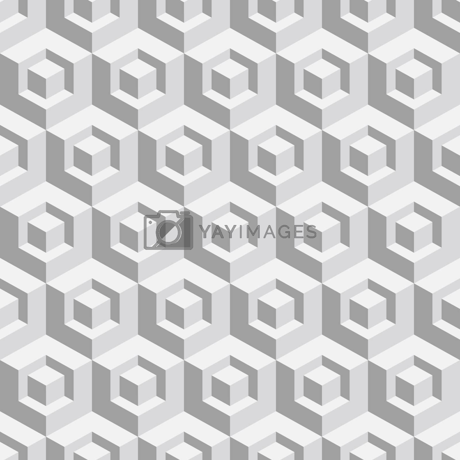 Abstract geometrical 3d white background.  Vector illustration. Seamless pattern.
