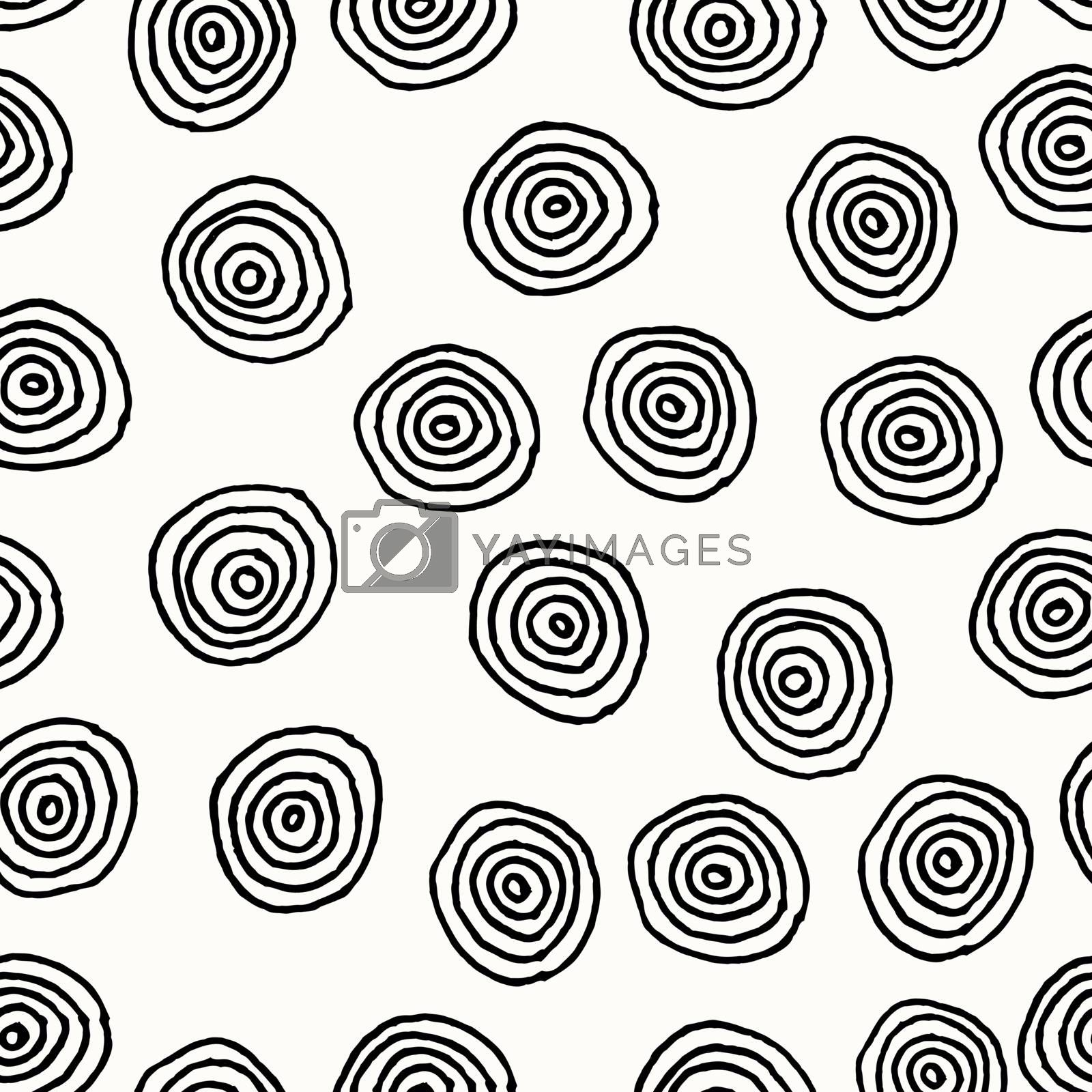 Hand drawn abstract seamless repeat pattern with round shapes in black and white.