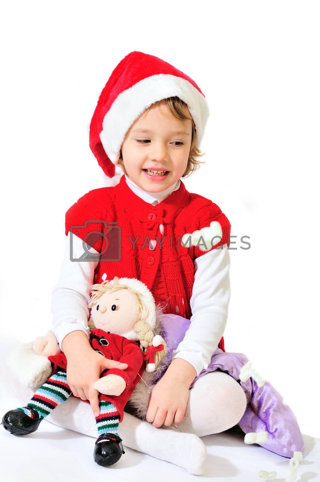 happy playing santa girl sitting and smiling