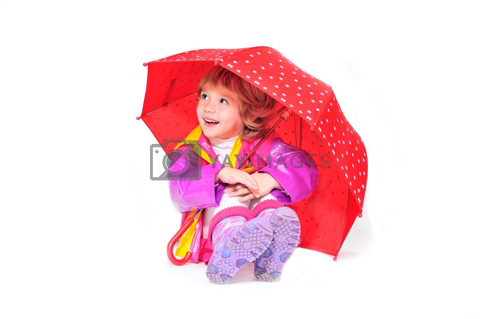 happy girl wearing raincoat and boots with umbrella