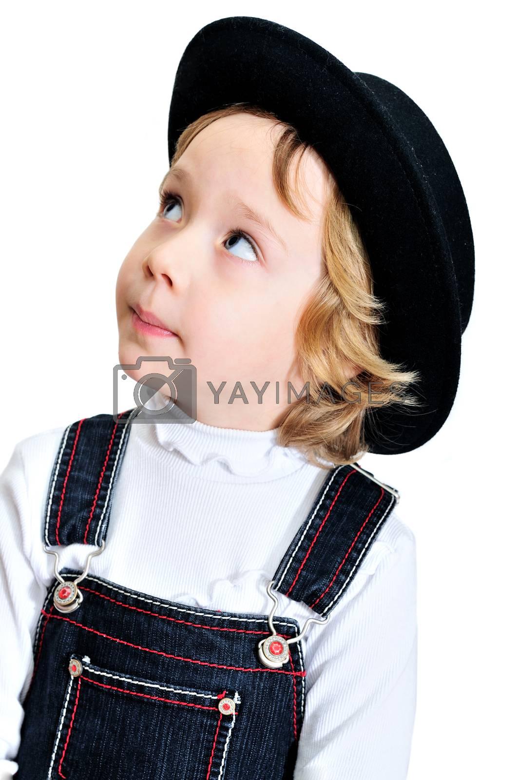 stylish funny little girl wearing black hat