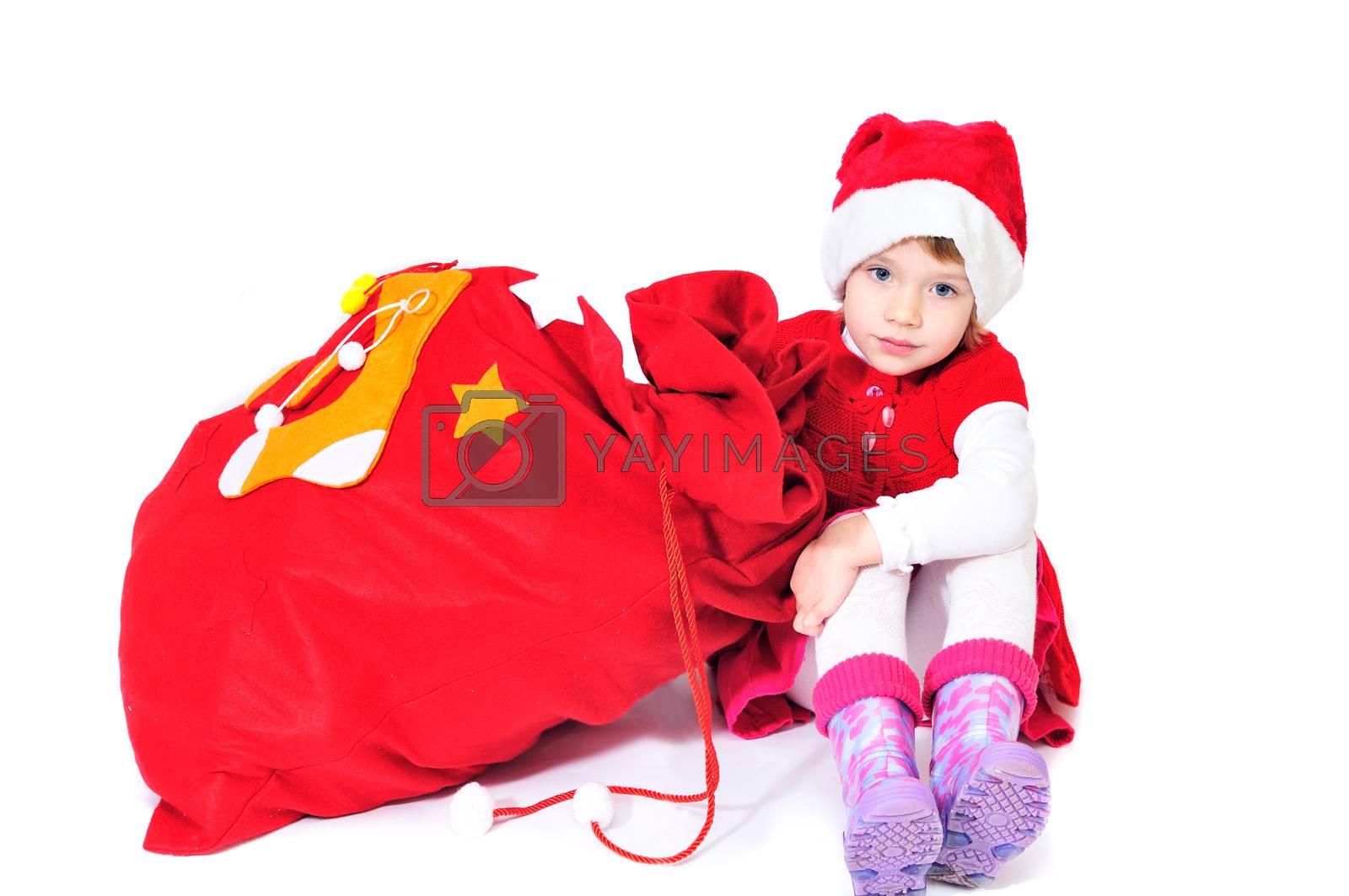 santa helper girl  with bag of gifts