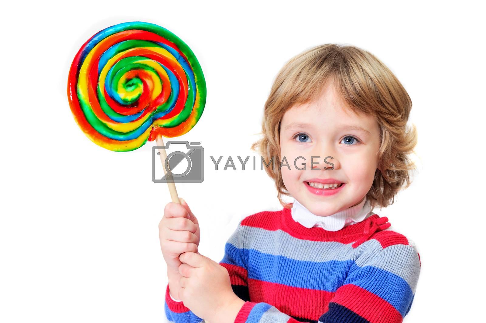 little girl holding big colorful lollipop