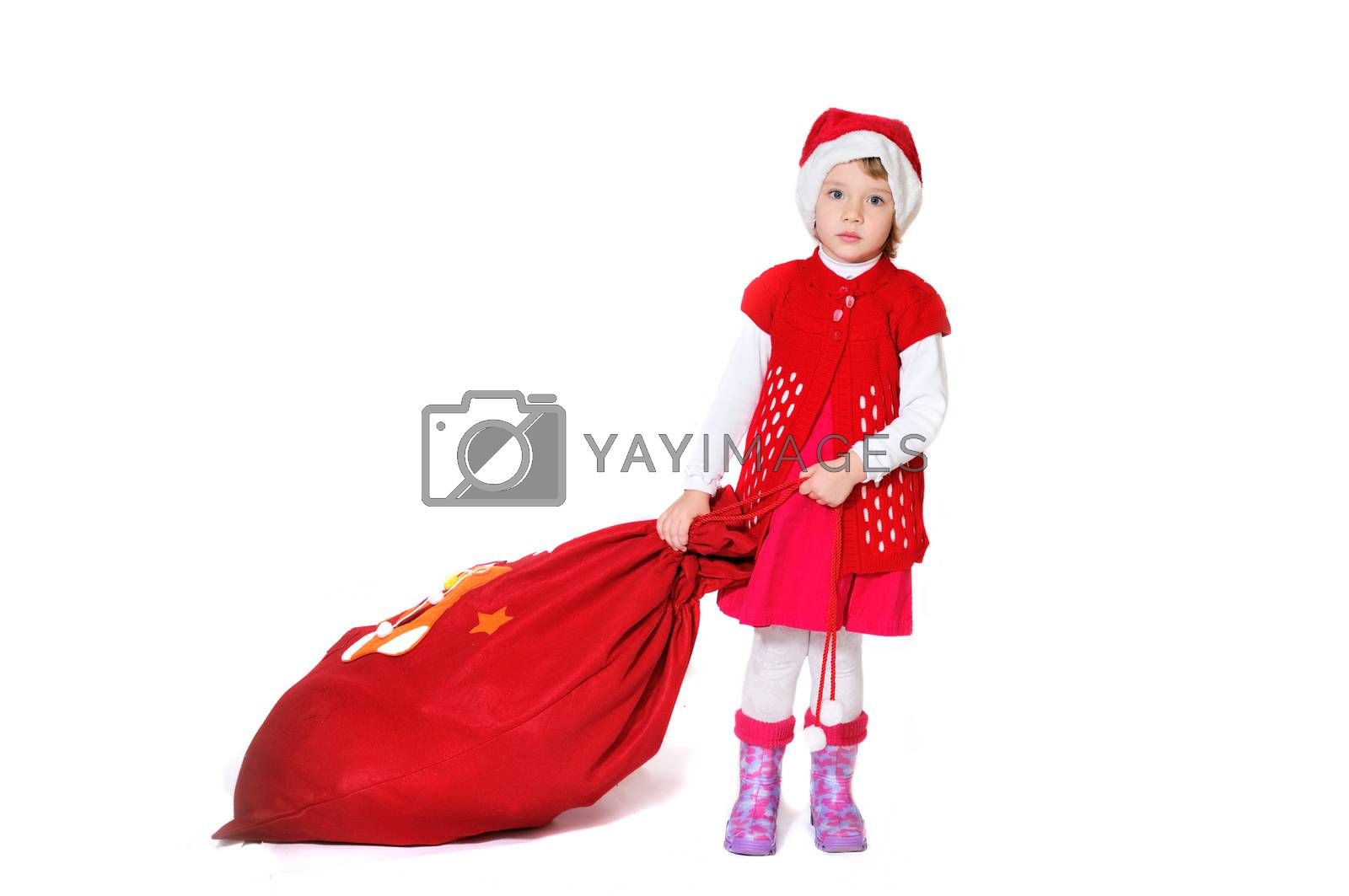 little santa girl with bag of presents