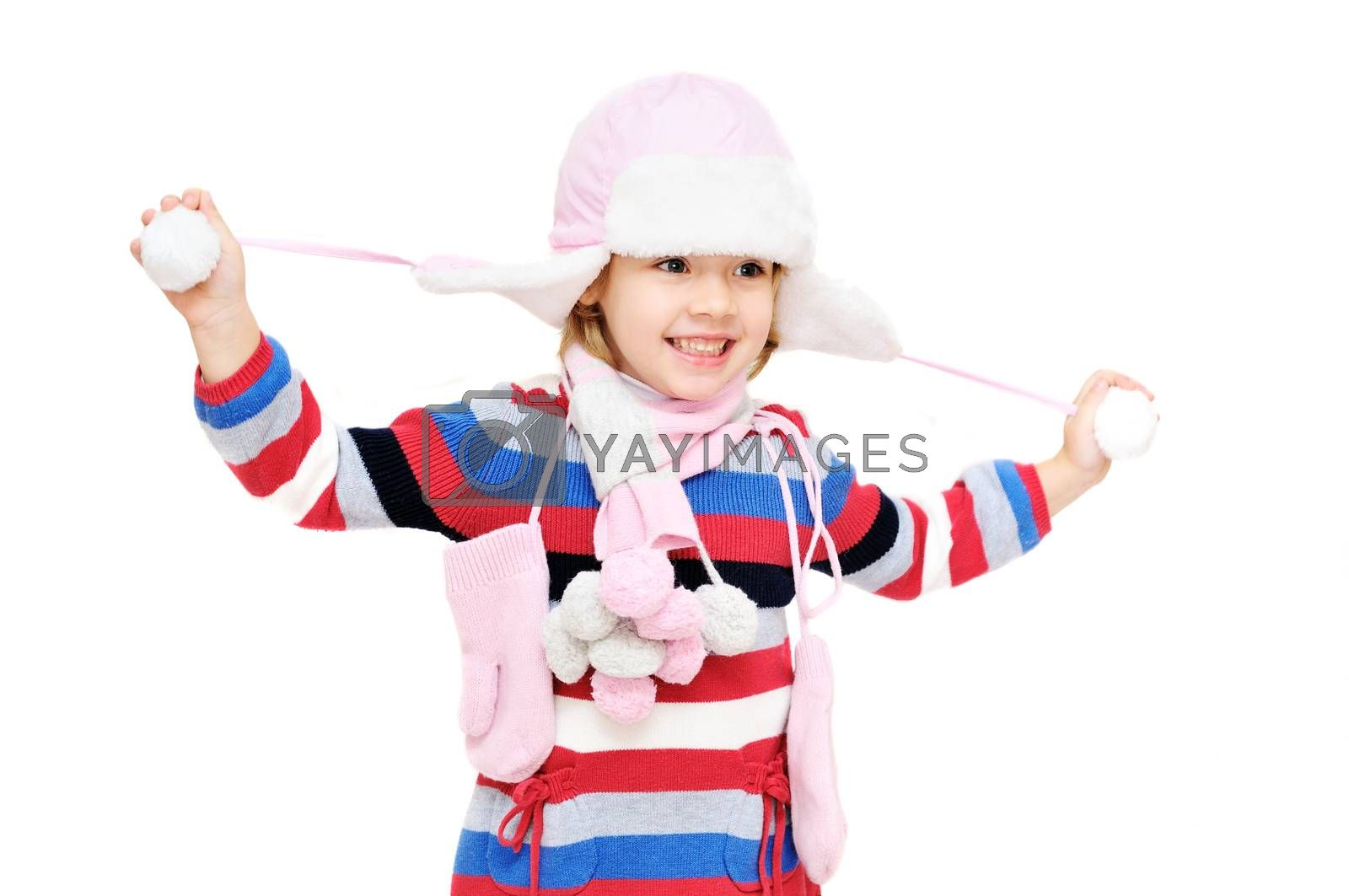 happy winter girl on over the white