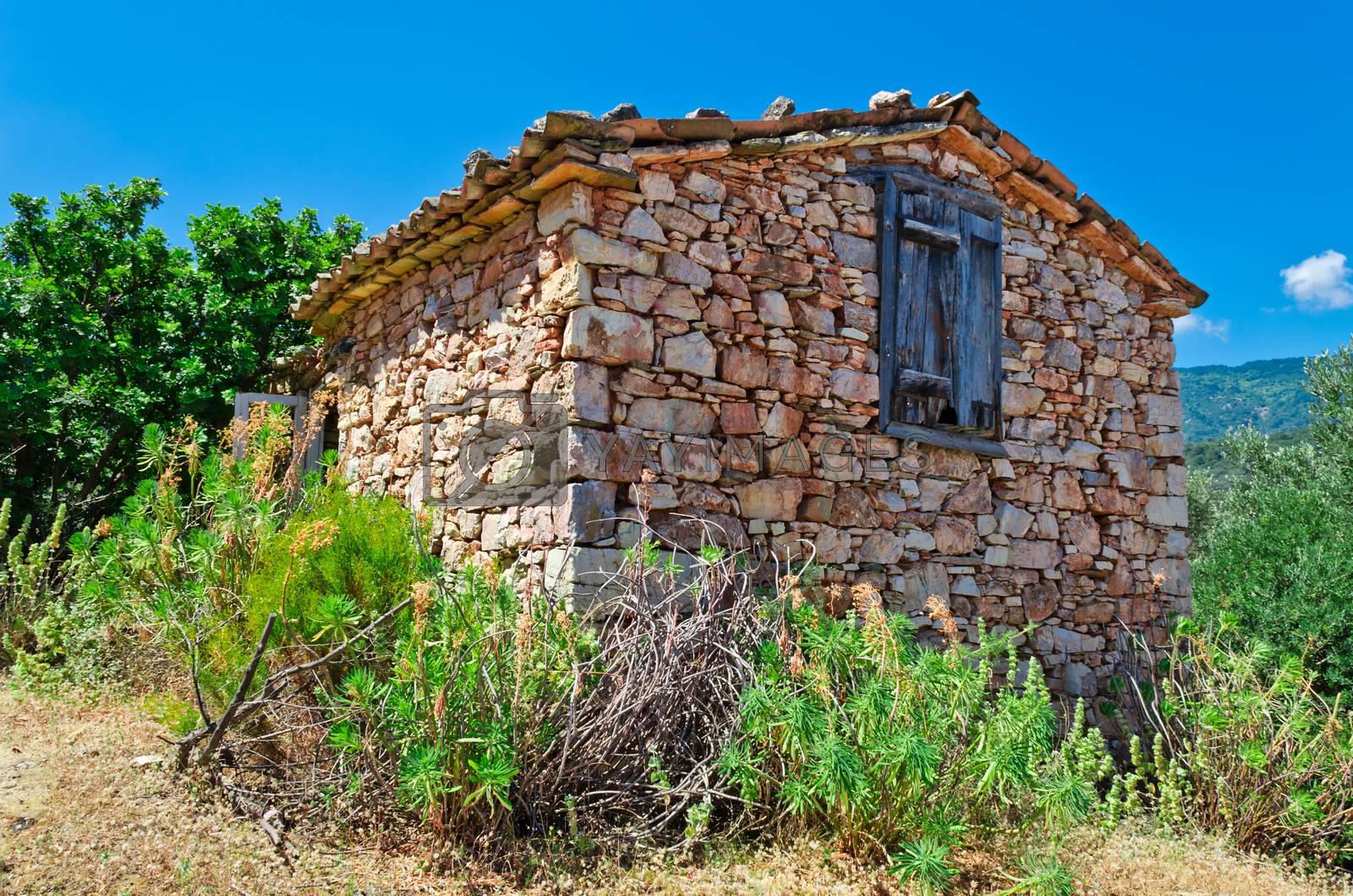 Old house near the village Vourliotes on aegean island Samos