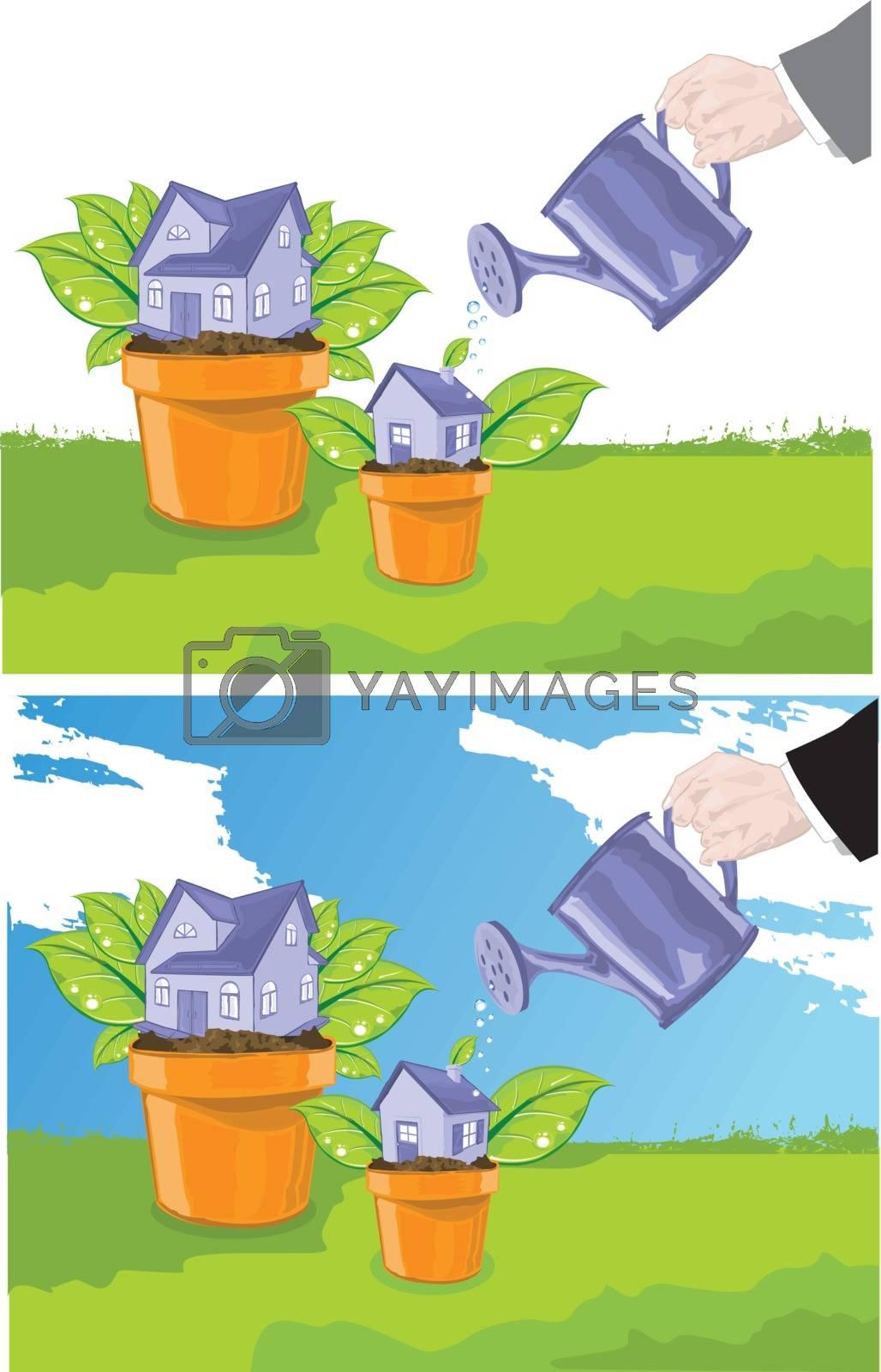Hand watering houses