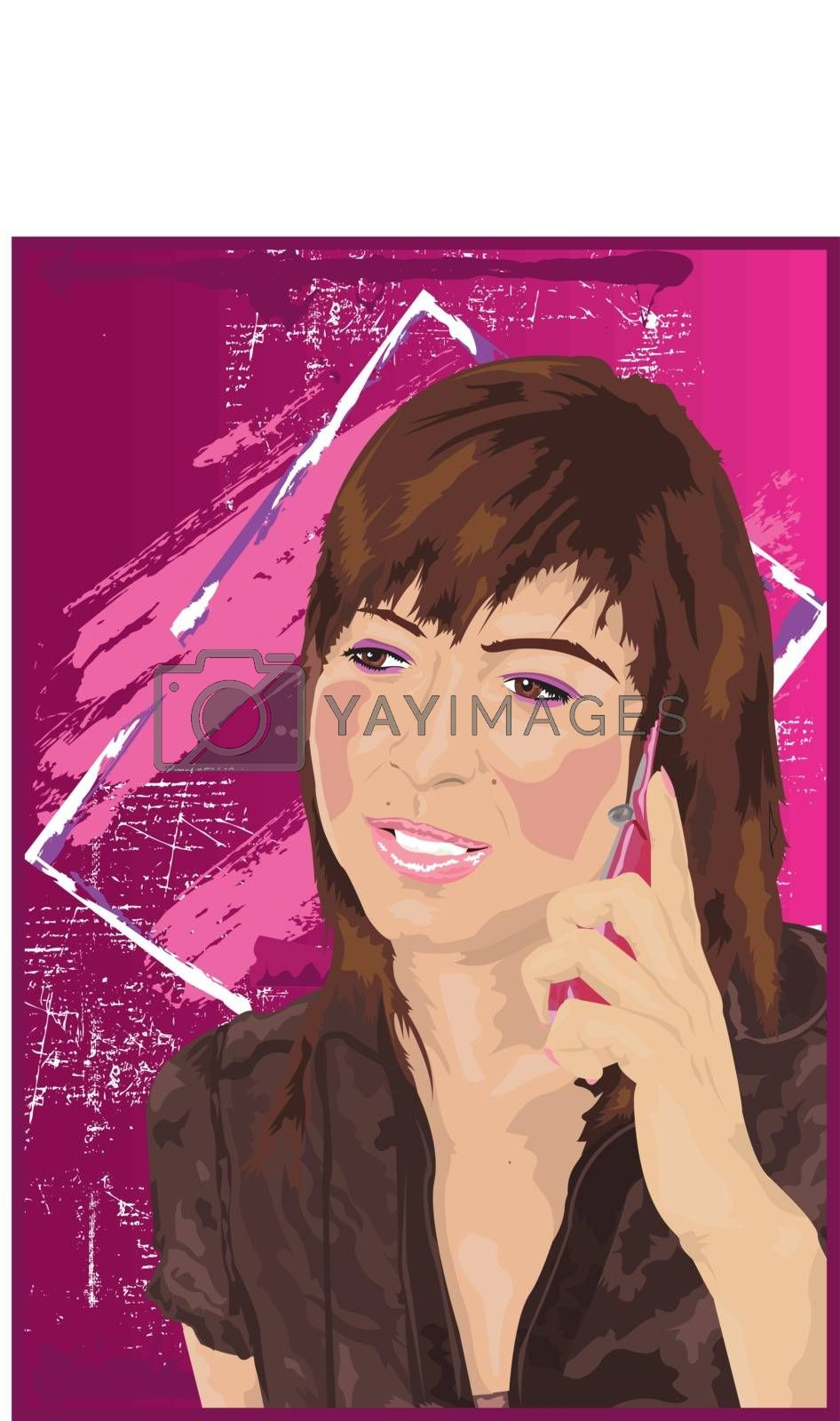 Woman On Mobile Phone Pink Acid