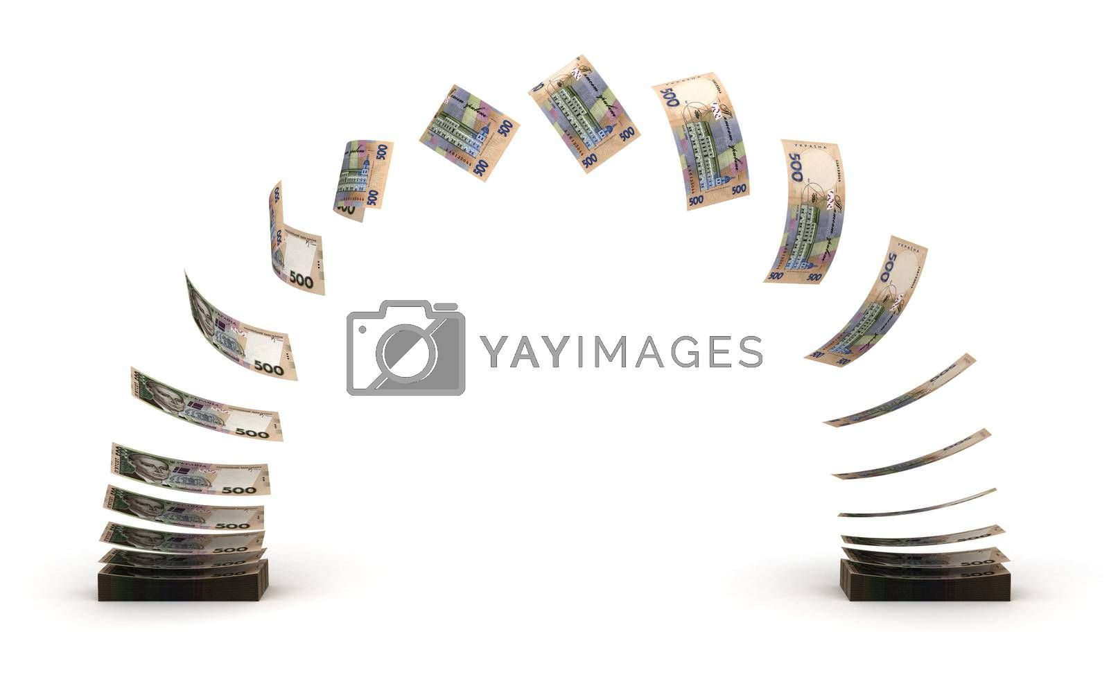 Ukrainian Hryvnia Transfer (isolated with clipping path)