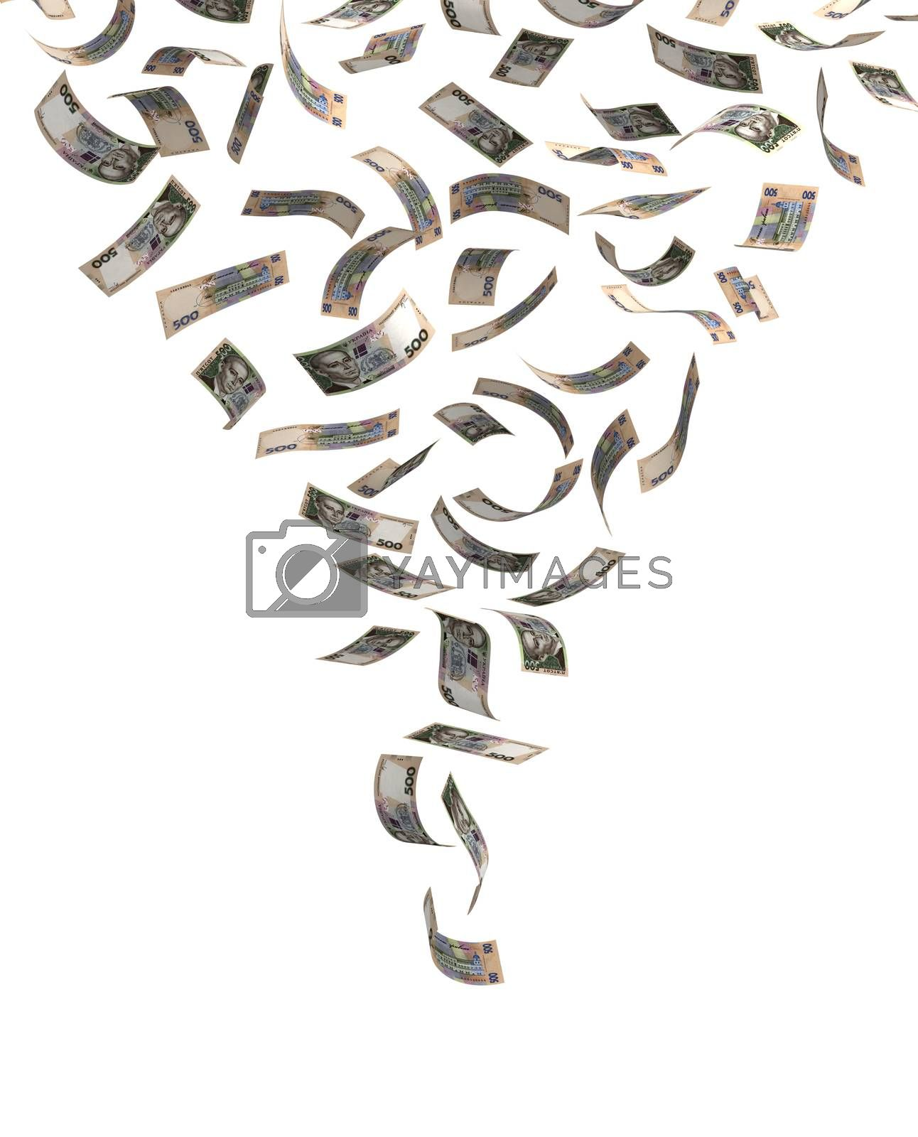 Flying Ukrainian Hryvnia (isolated with clipping path)