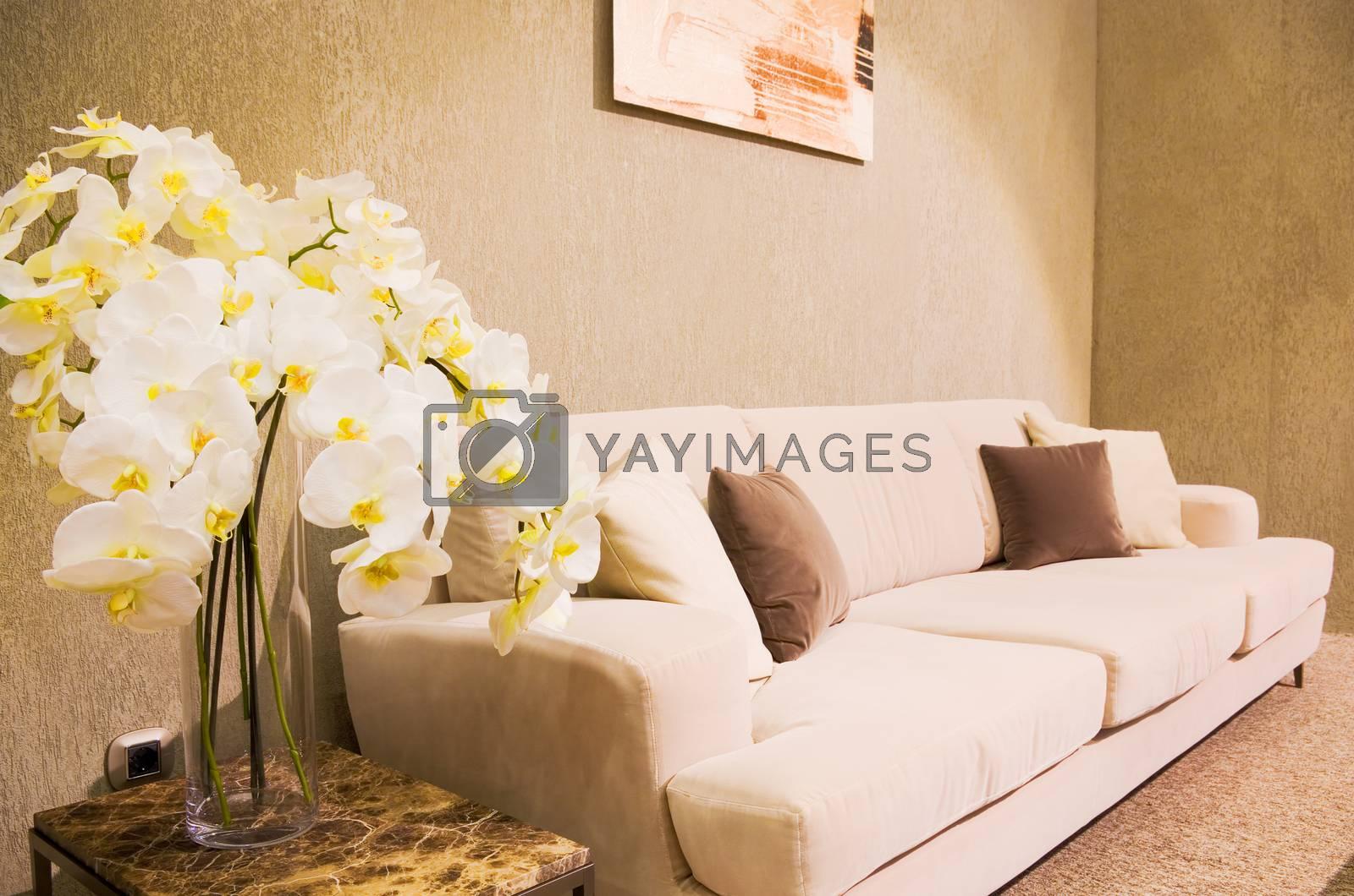 white flowers in modern living room