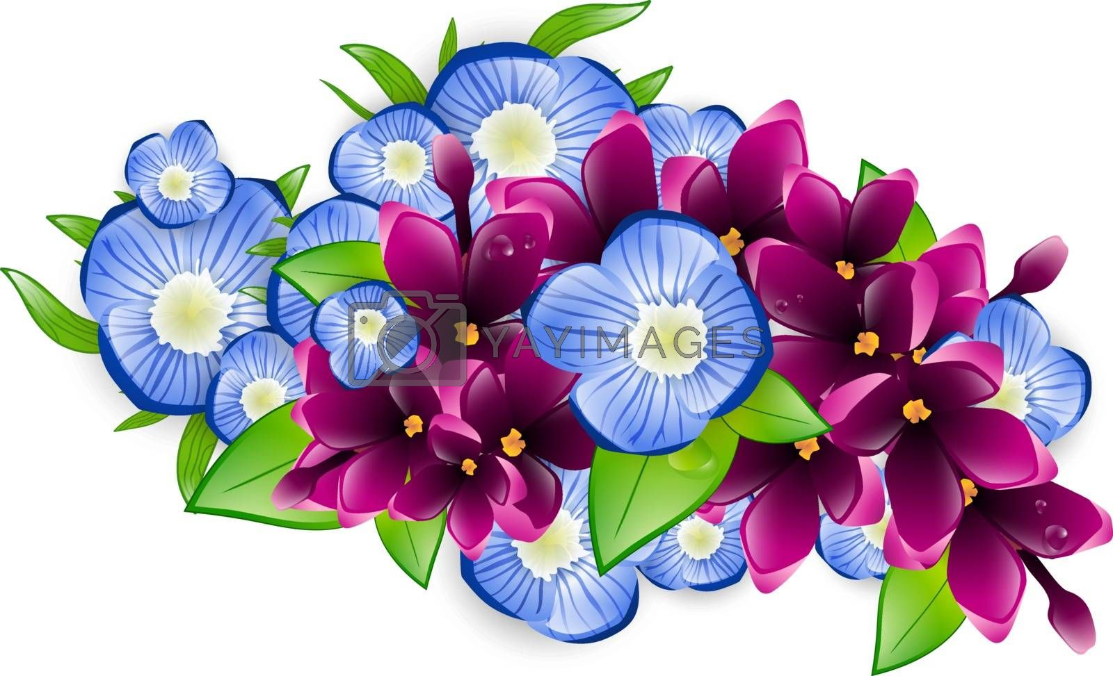 Illustration of Spring Wet Lilac and Forget-me-not Flower Branch