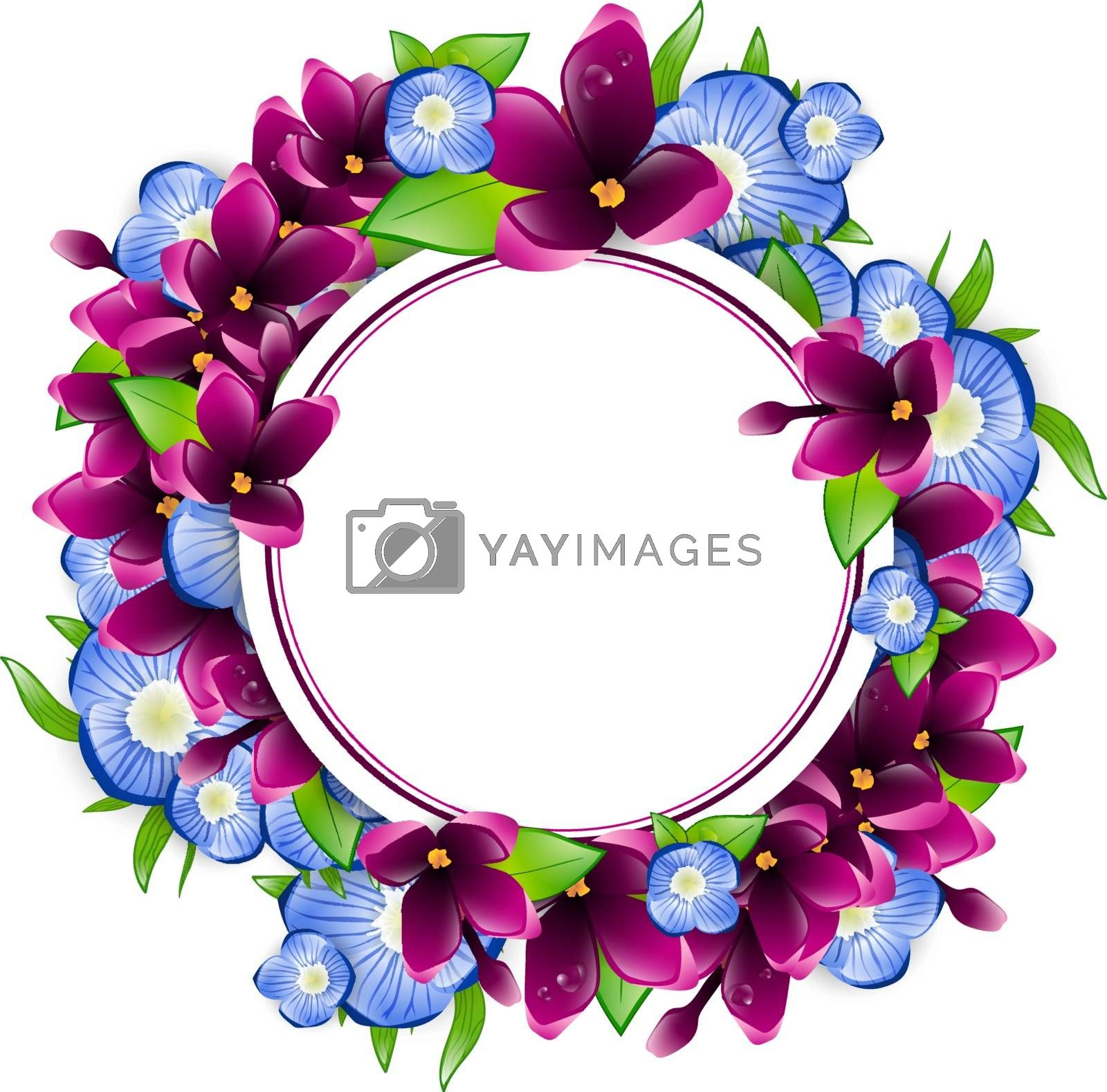 Illustration of Spring Wet Lilac and Forget-me-not Flower Round Frame, Copyspace
