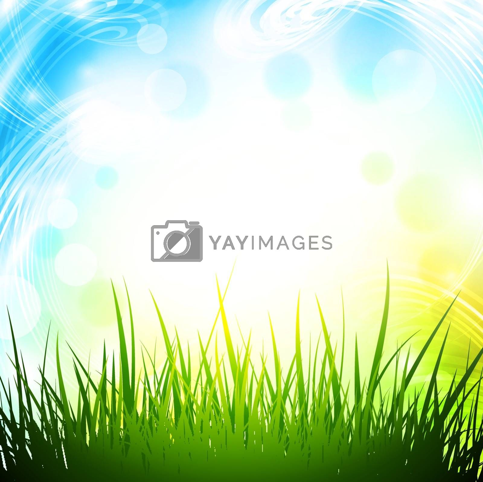 Abstract Spring Background With Green Grass and Copyspace