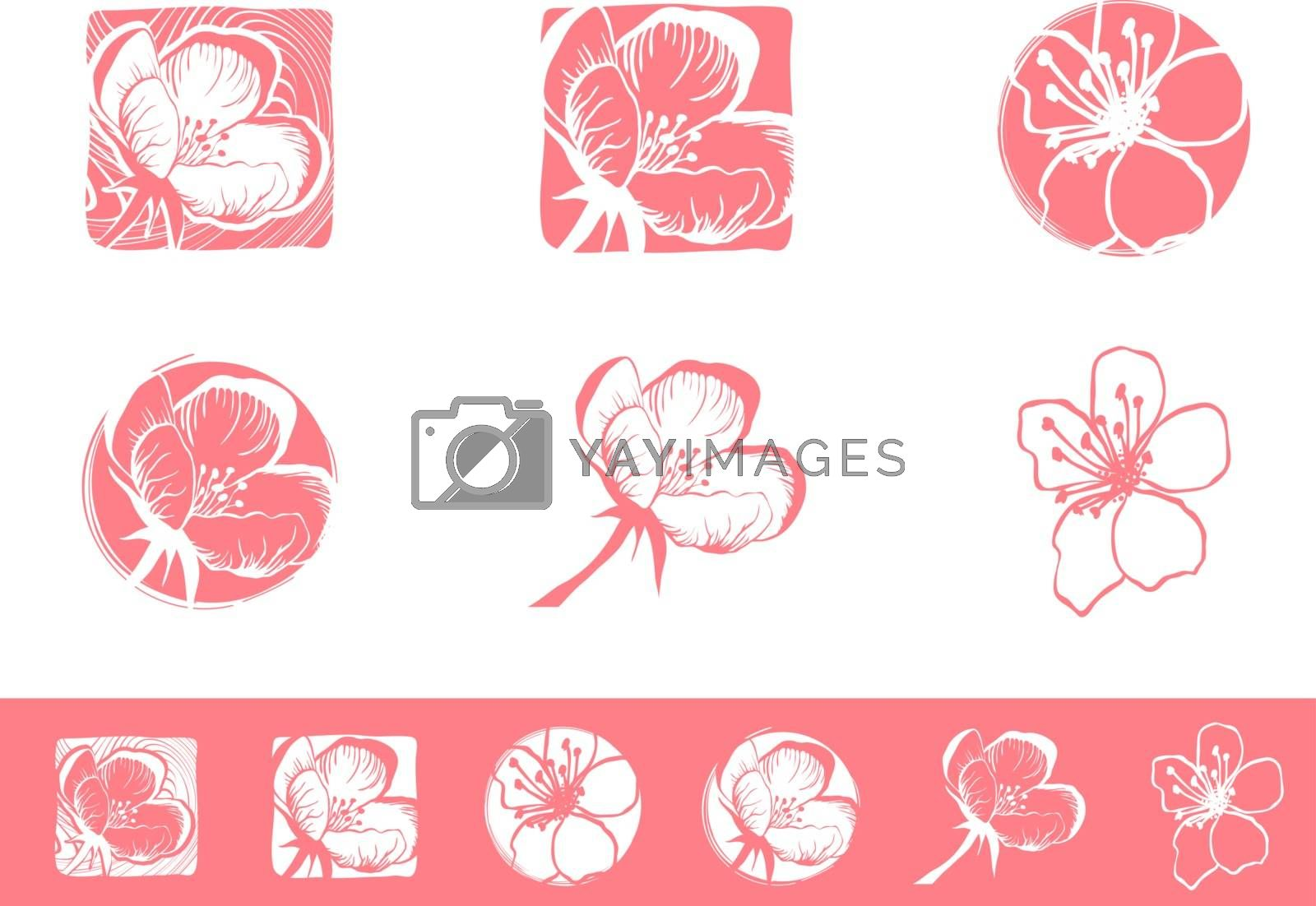 Cherry Blossom Logo Design Set by razvodovska
