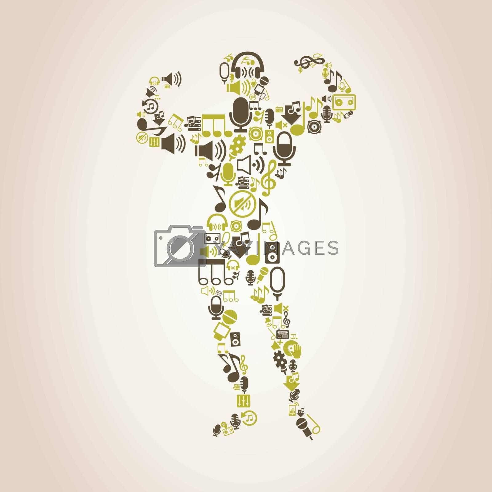 The sportsman made of music. A vector illustration