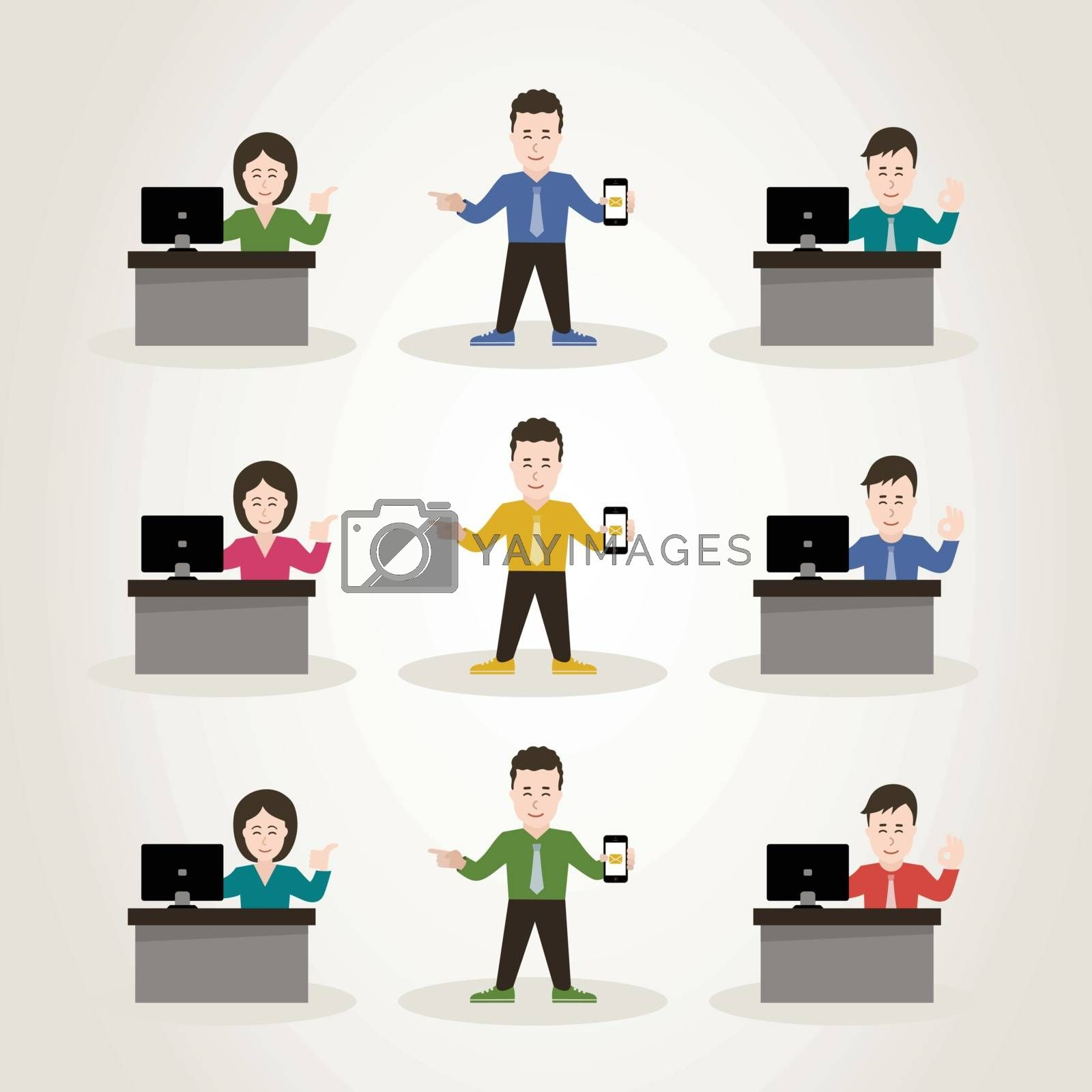 Set of characters office the manager. A vector illustration