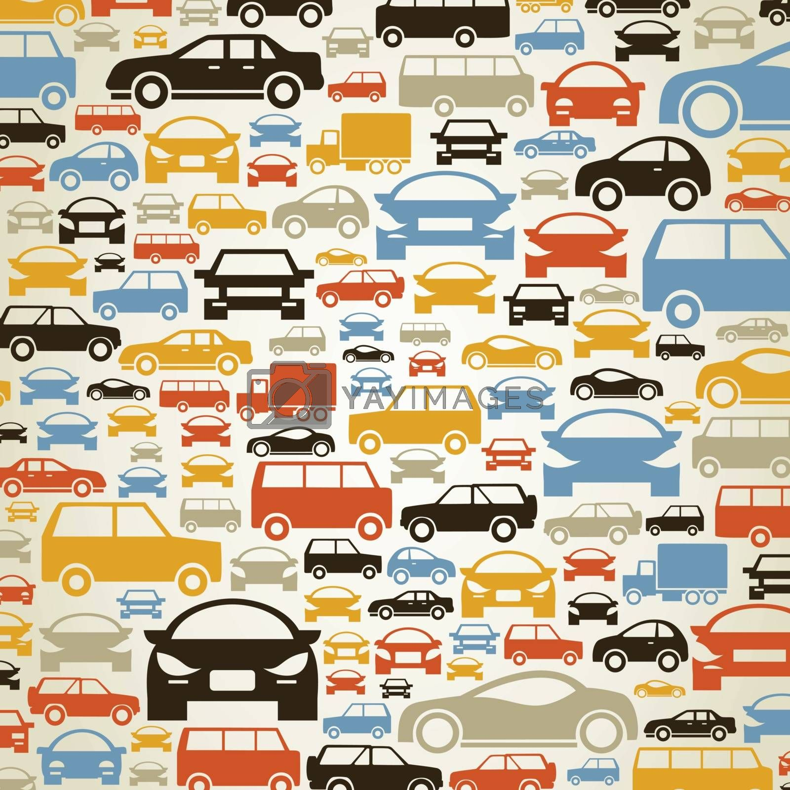 Background made of cars. A vector illustration