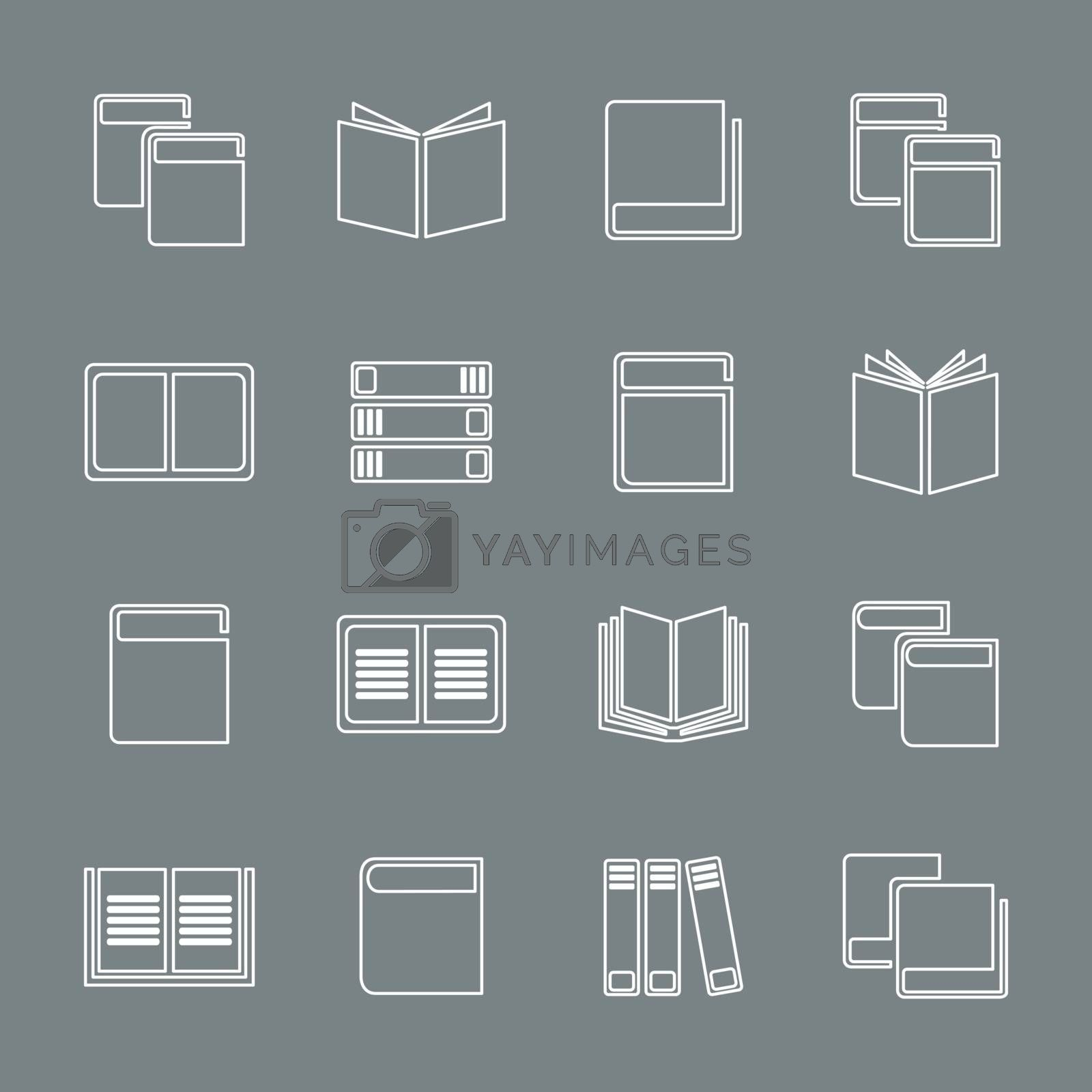 Outline a set of icons of books. A vector illustration