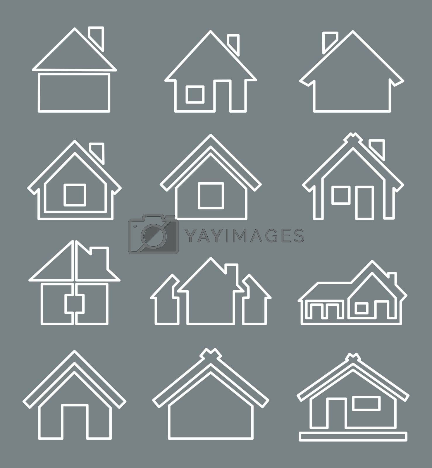 Outline a set of icons of houses. A vector illustration