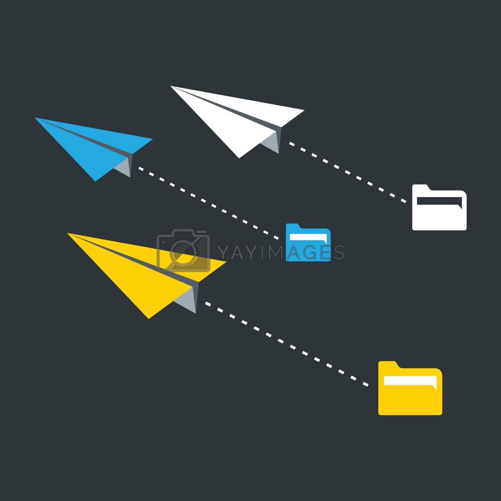 Three paper planes. A vector illustration