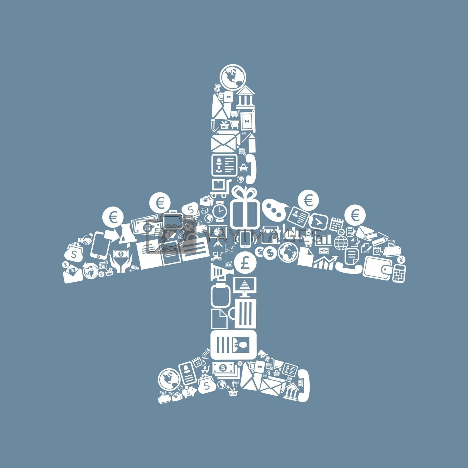 The plane made of business. A vector illustration