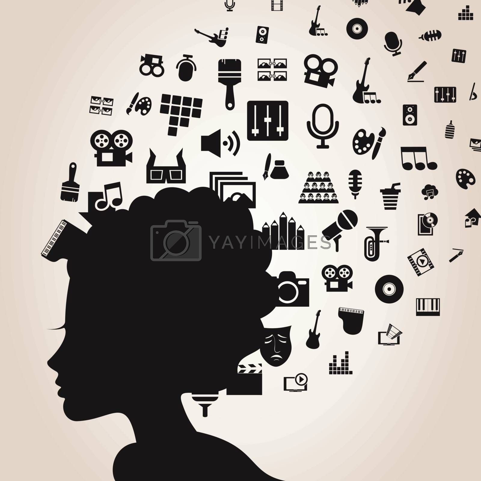 Art from a head of the woman. A vector illustration