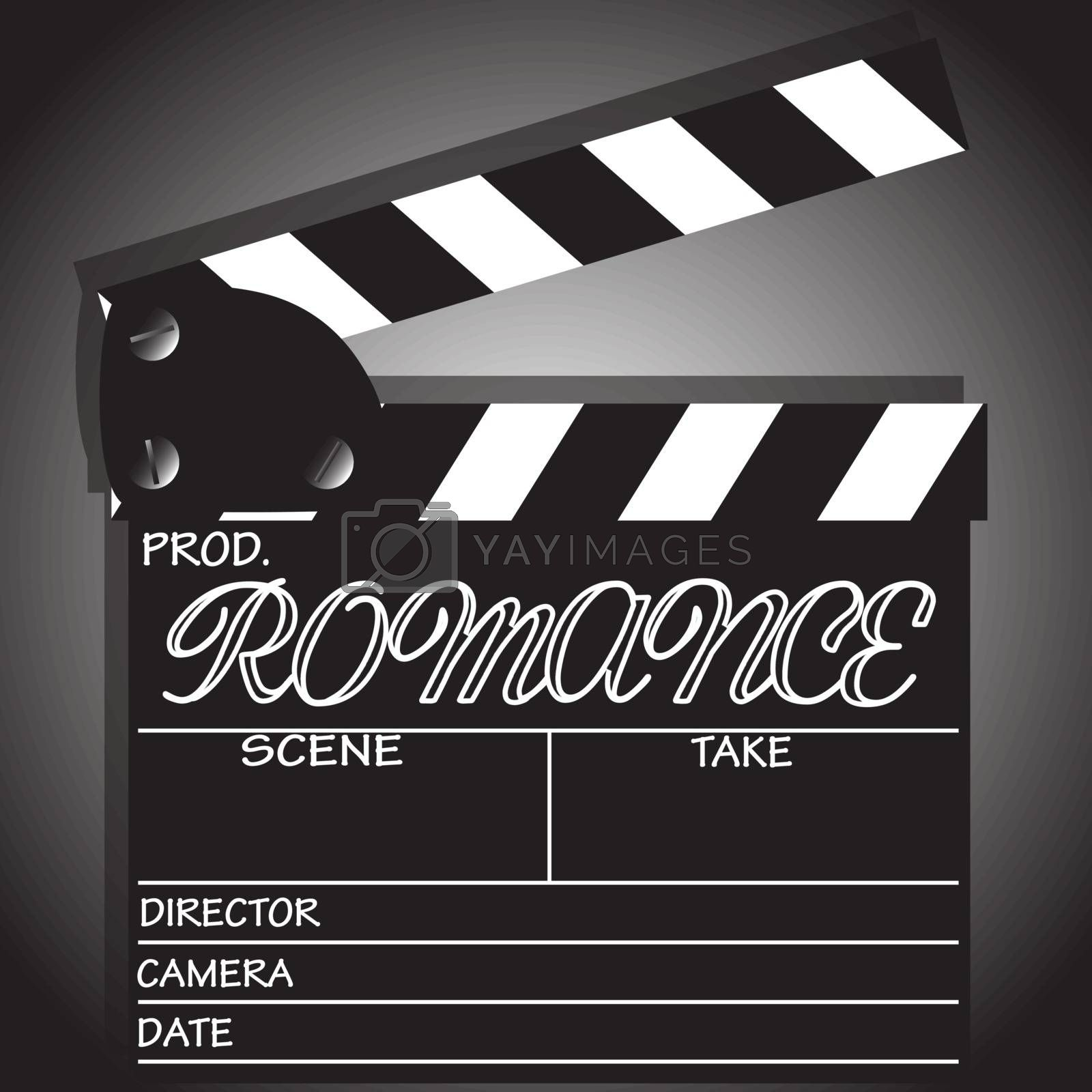 A director's 'Romance' clapper board isolated on a white background